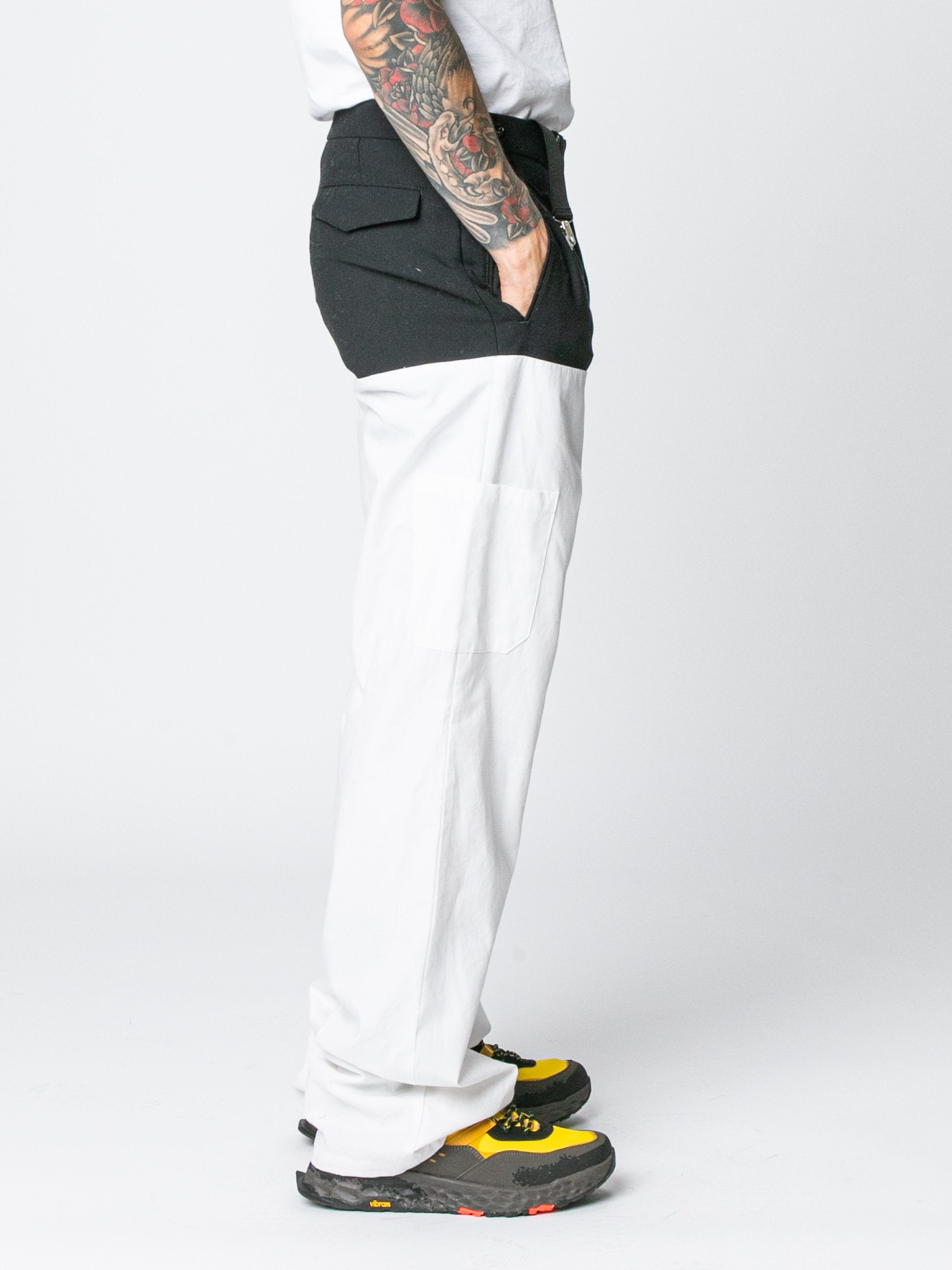 White / Navy Pants With Horizontal Cut Pockets & Suspenders 4
