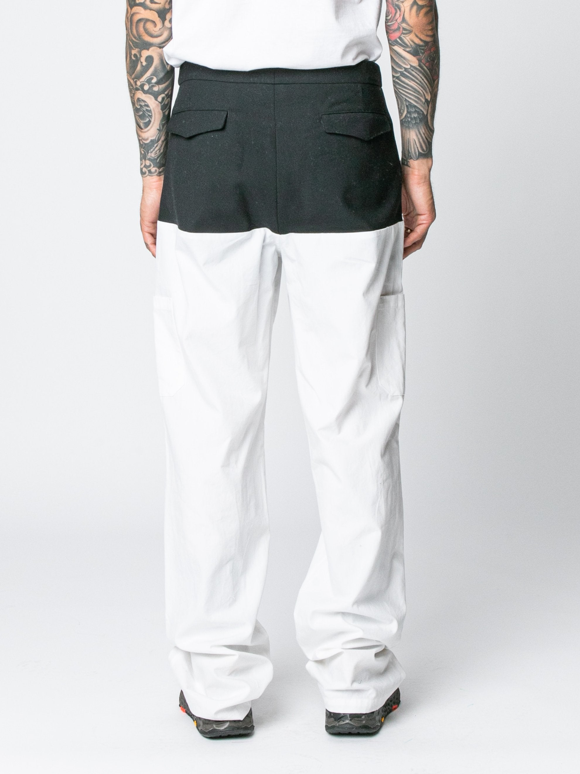 White / Navy Pants With Horizontal Cut Pockets & Suspenders 5