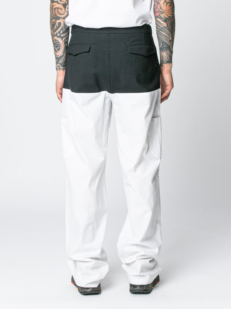 White / Navy Pants With Horizontal Cut Pockets & Suspenders 514326294609997