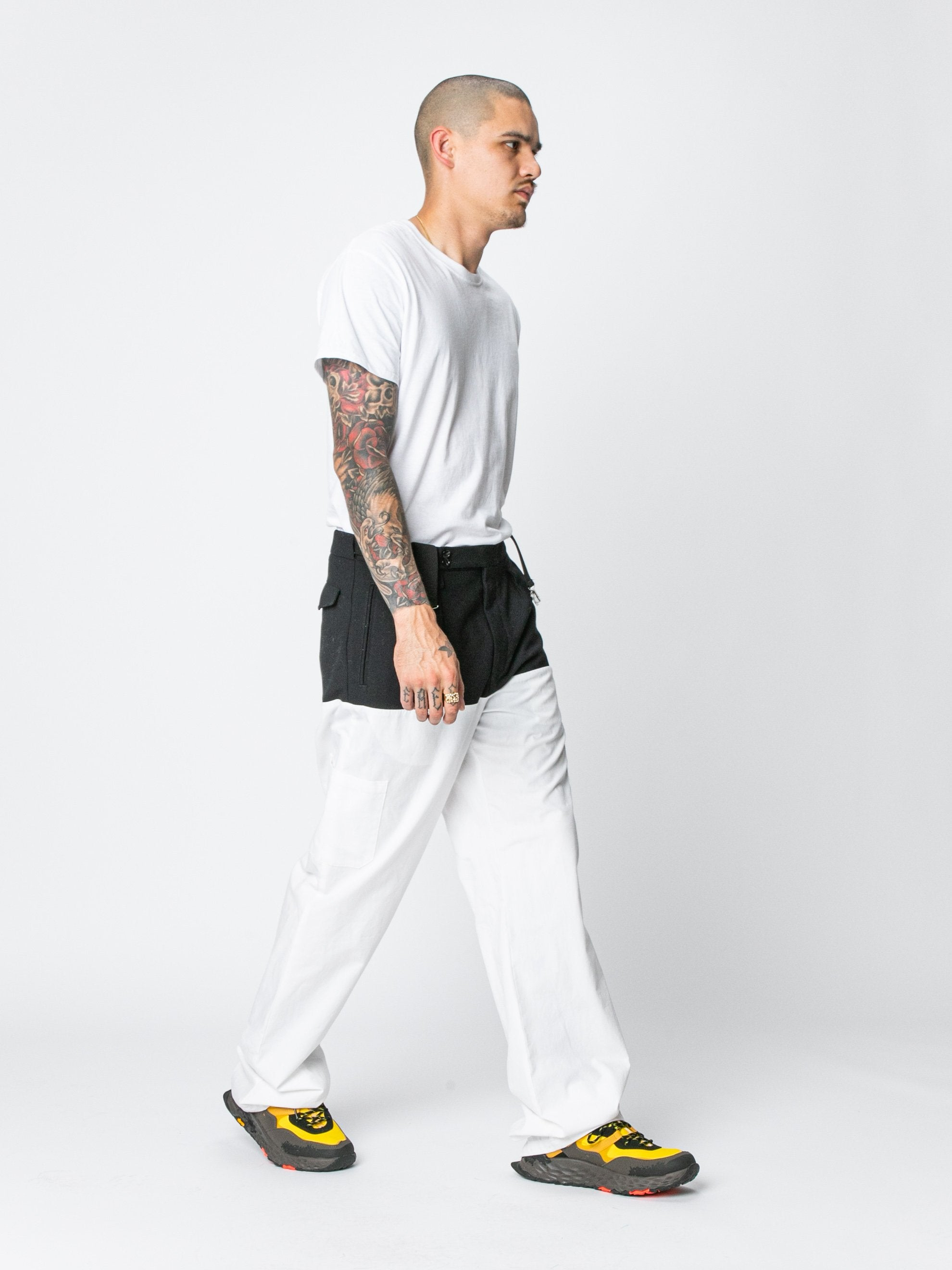 White / Navy Pants With Horizontal Cut Pockets & Suspenders 6