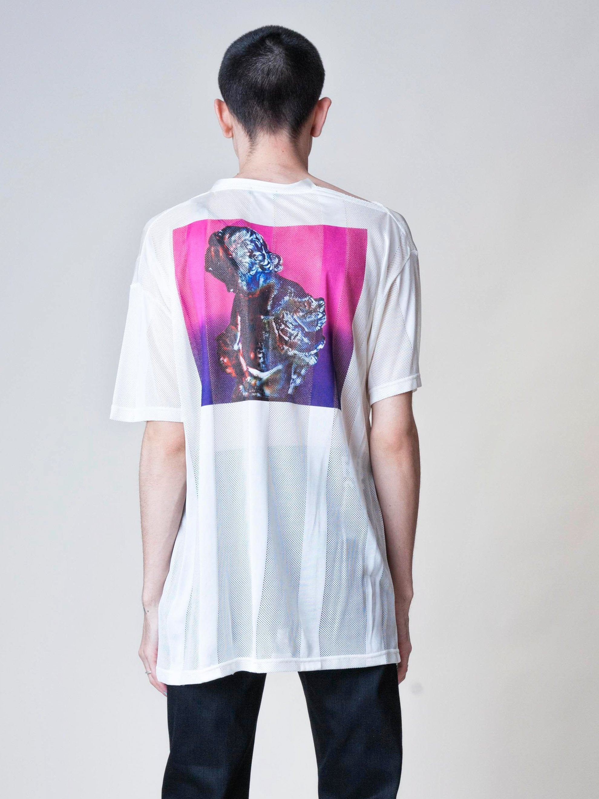 White Regular Fit Net New Order T-Shirt 6