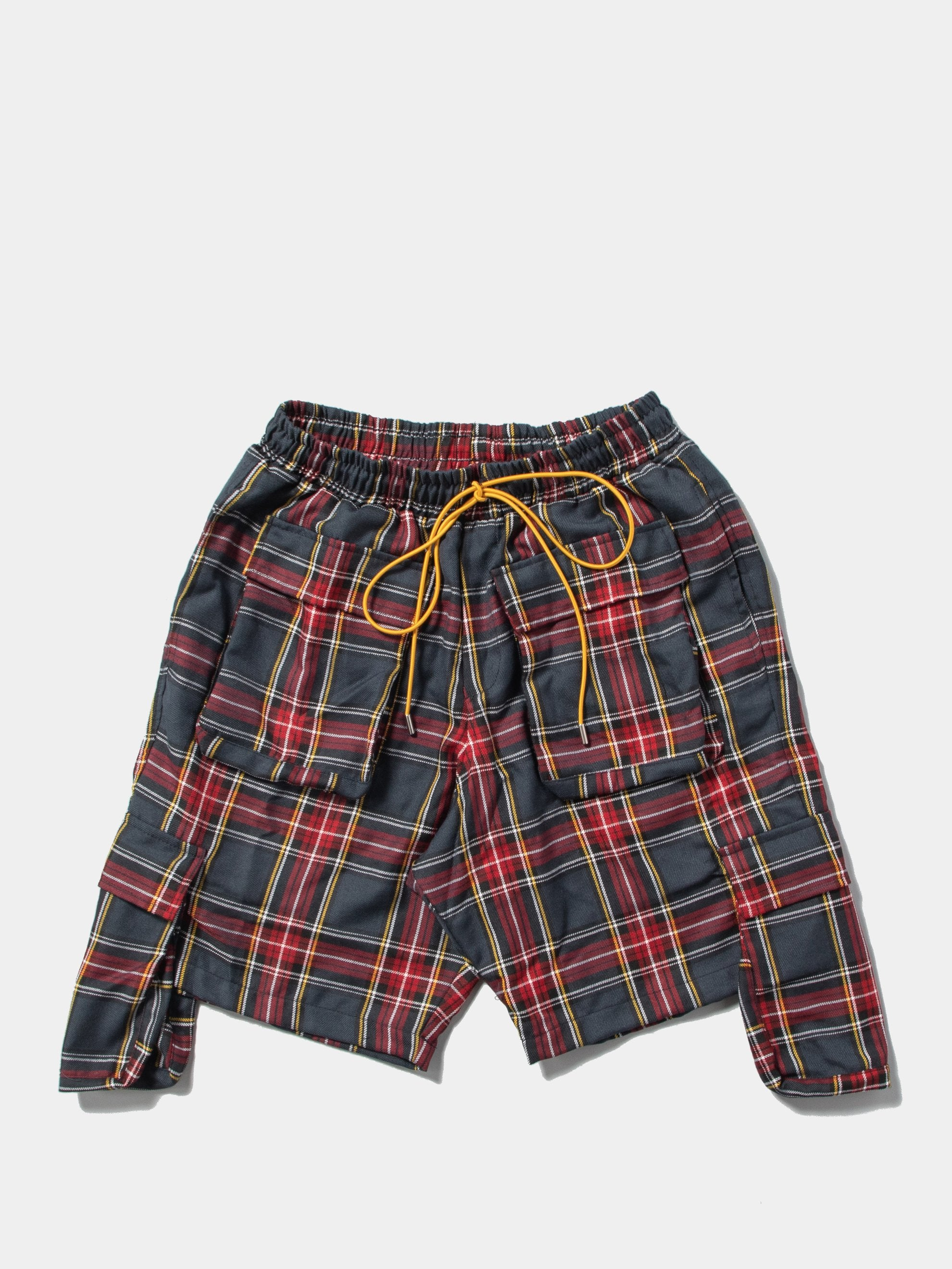 Red / Grey Plaid Cargo Shorts 1