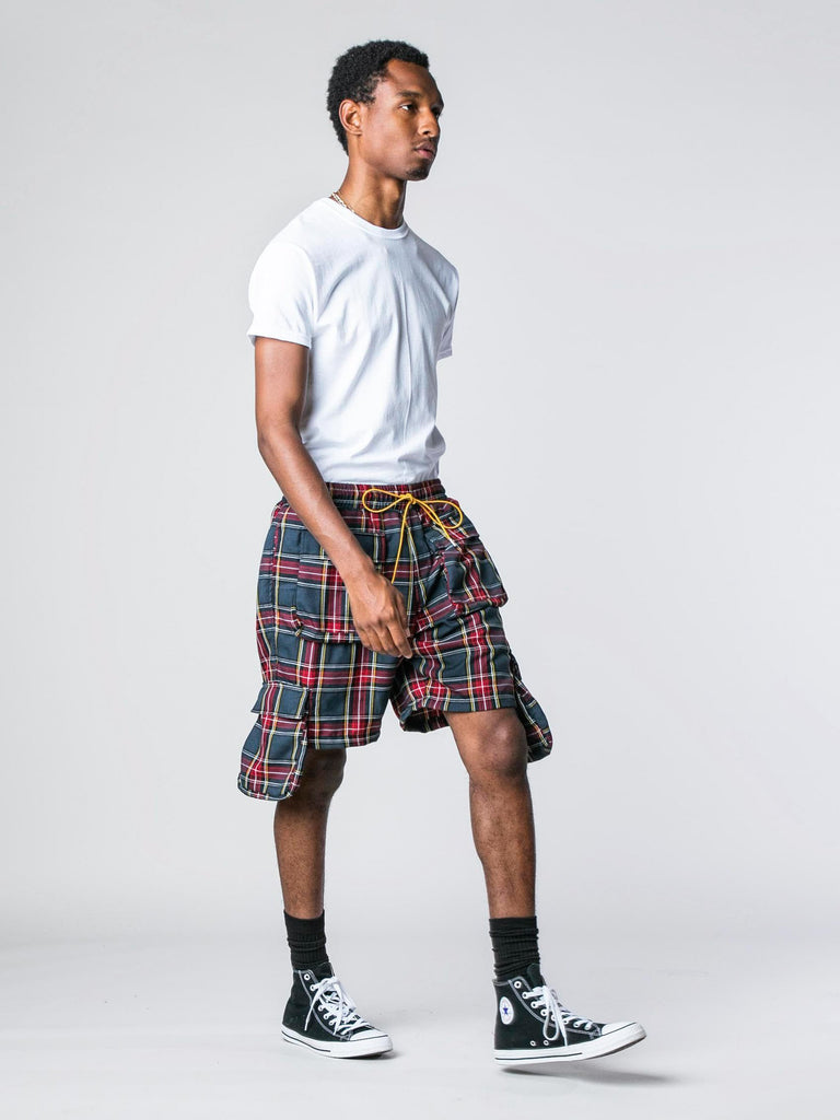 Red / Grey Plaid Cargo Shorts 613570428436557