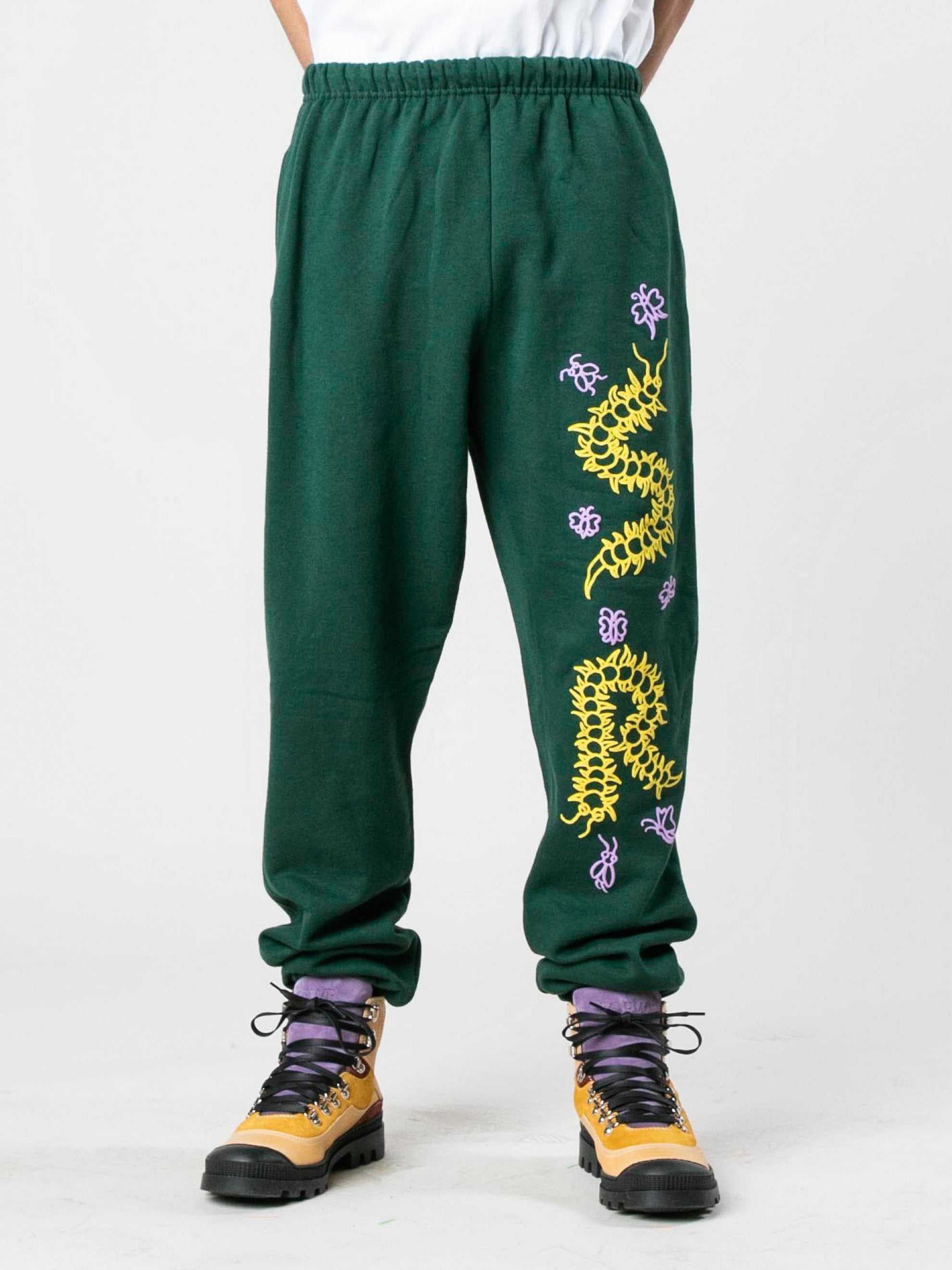 Green Caterpillar Puff Print Sweatpants 2