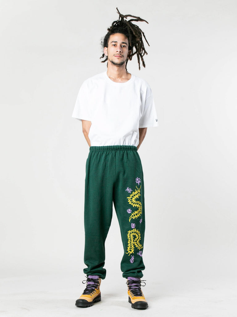 Green Caterpillar Puff Print Sweatpants 313933575700557
