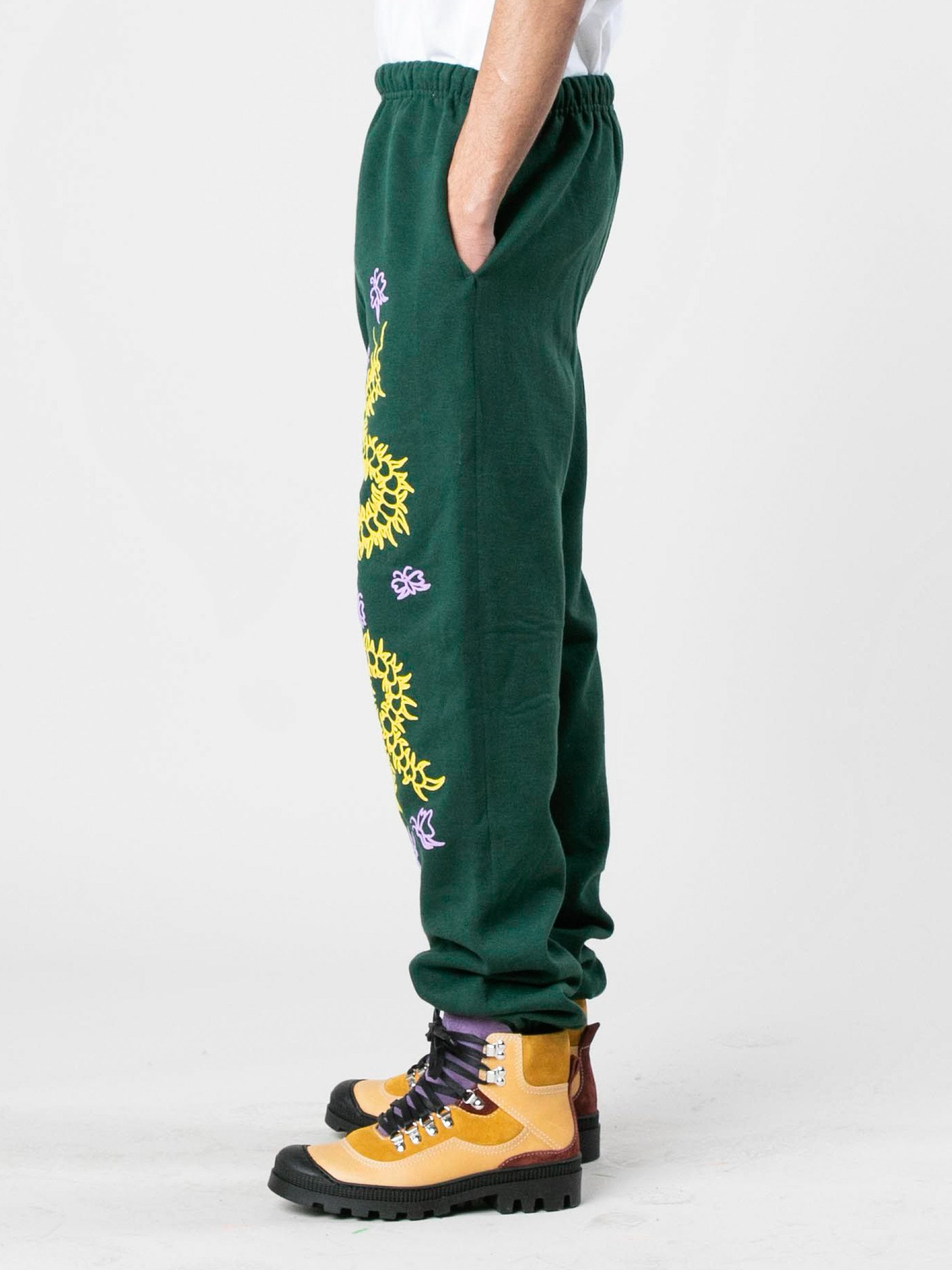 Green Caterpillar Puff Print Sweatpants 4