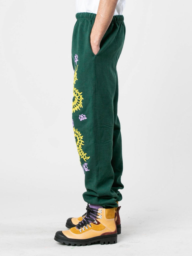 Green Caterpillar Puff Print Sweatpants 413933575733325