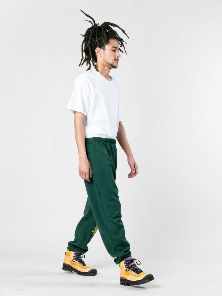 Green Caterpillar Puff Print Sweatpants 613933575798861