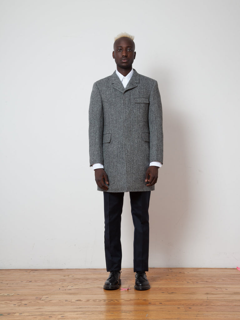 Button Back Classic Chesterfield Overcoat (Herringbone Harris Tweed)