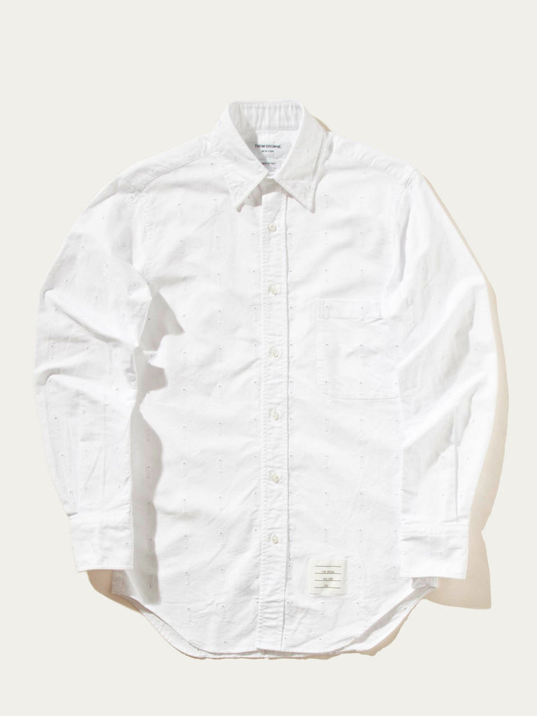 Buy Thom Browne Classic Ls Bd Point Collar Shirt Tonal Embroidered