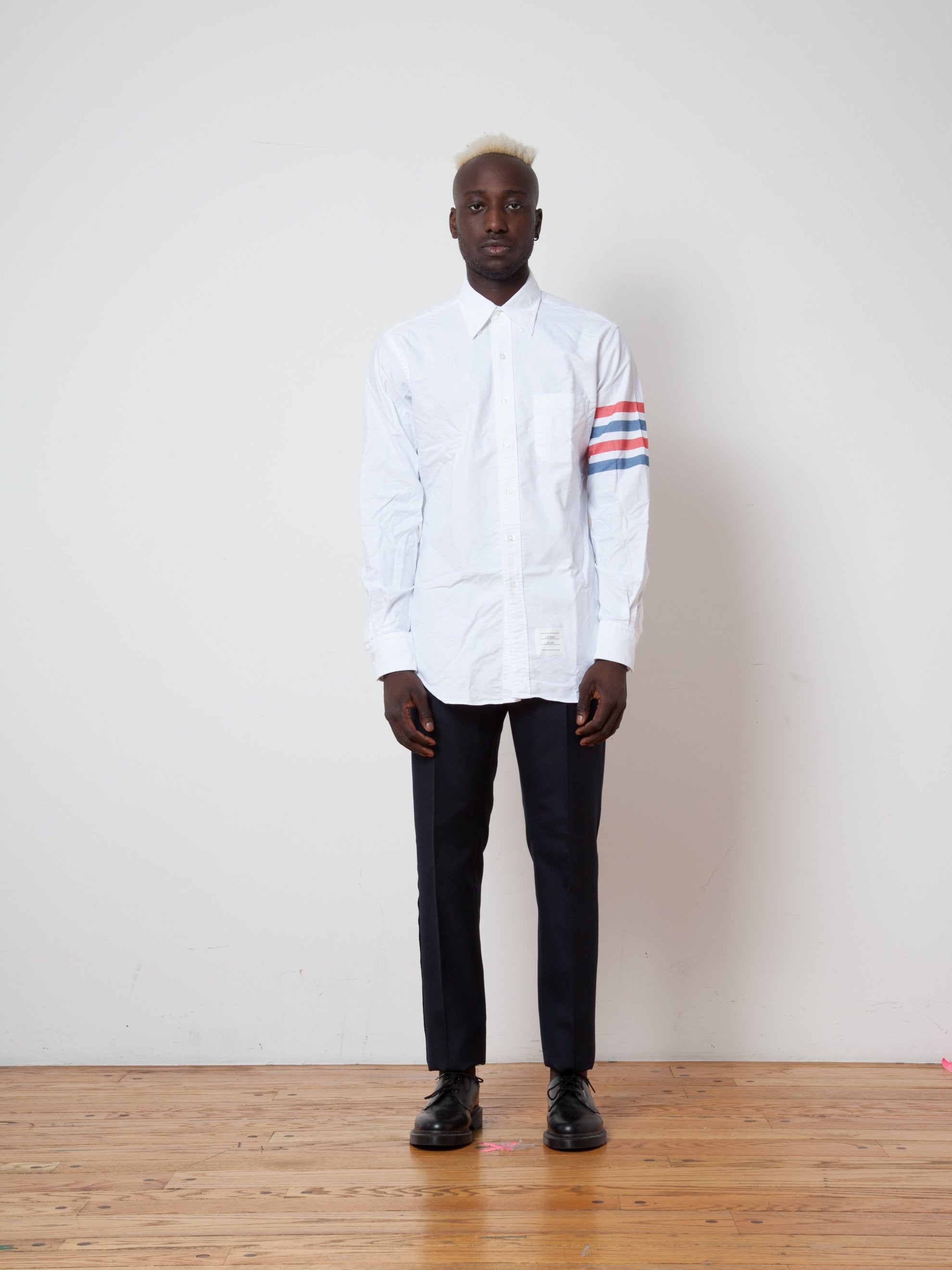 RWB White Classic LS BD Point Collar Shirt (Woven 4 Bar) 2
