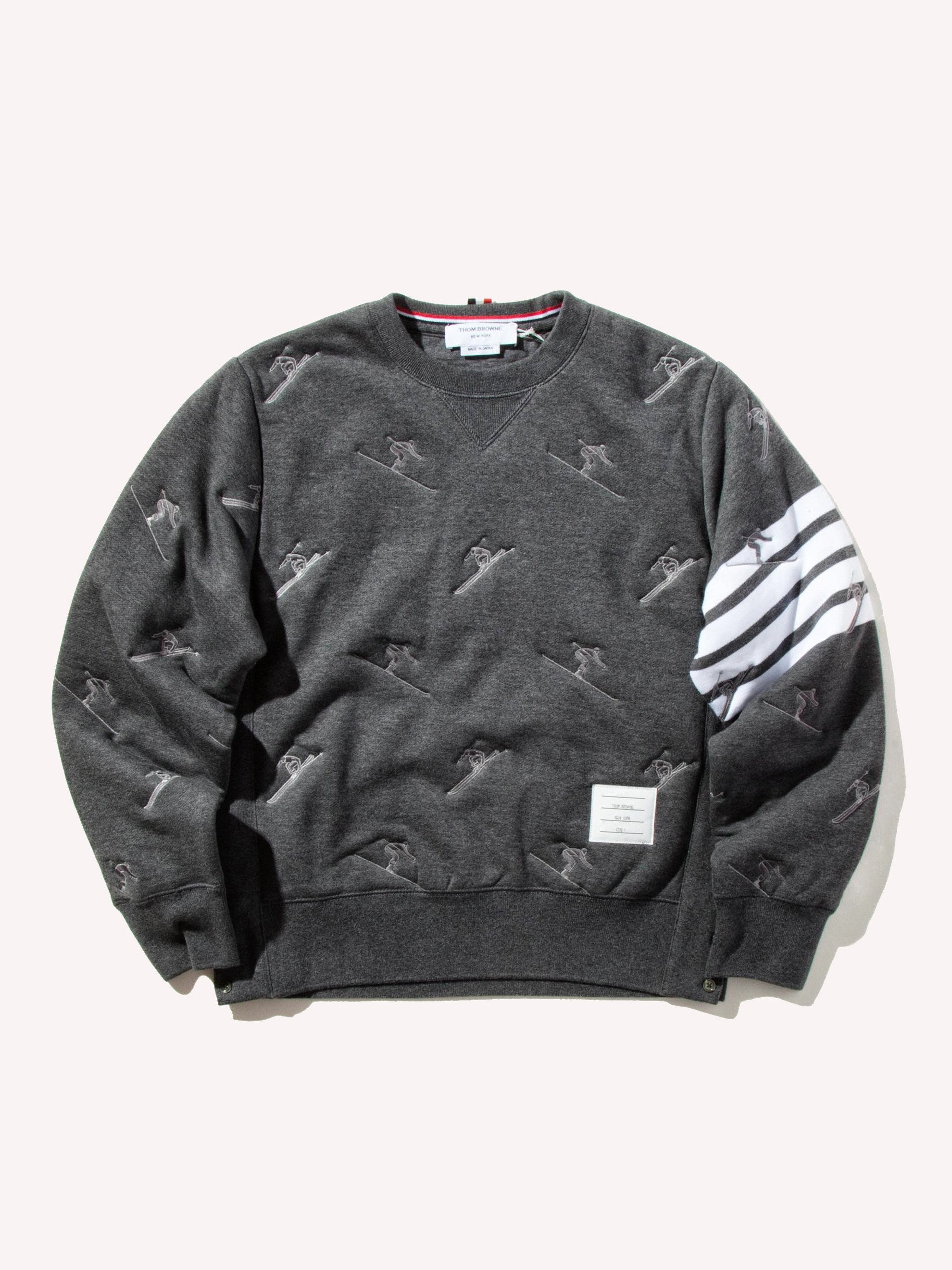 Dark Grey Classic Sweatshirt (Quilted Classic Loopback/Skier Icon Embroidery) 1