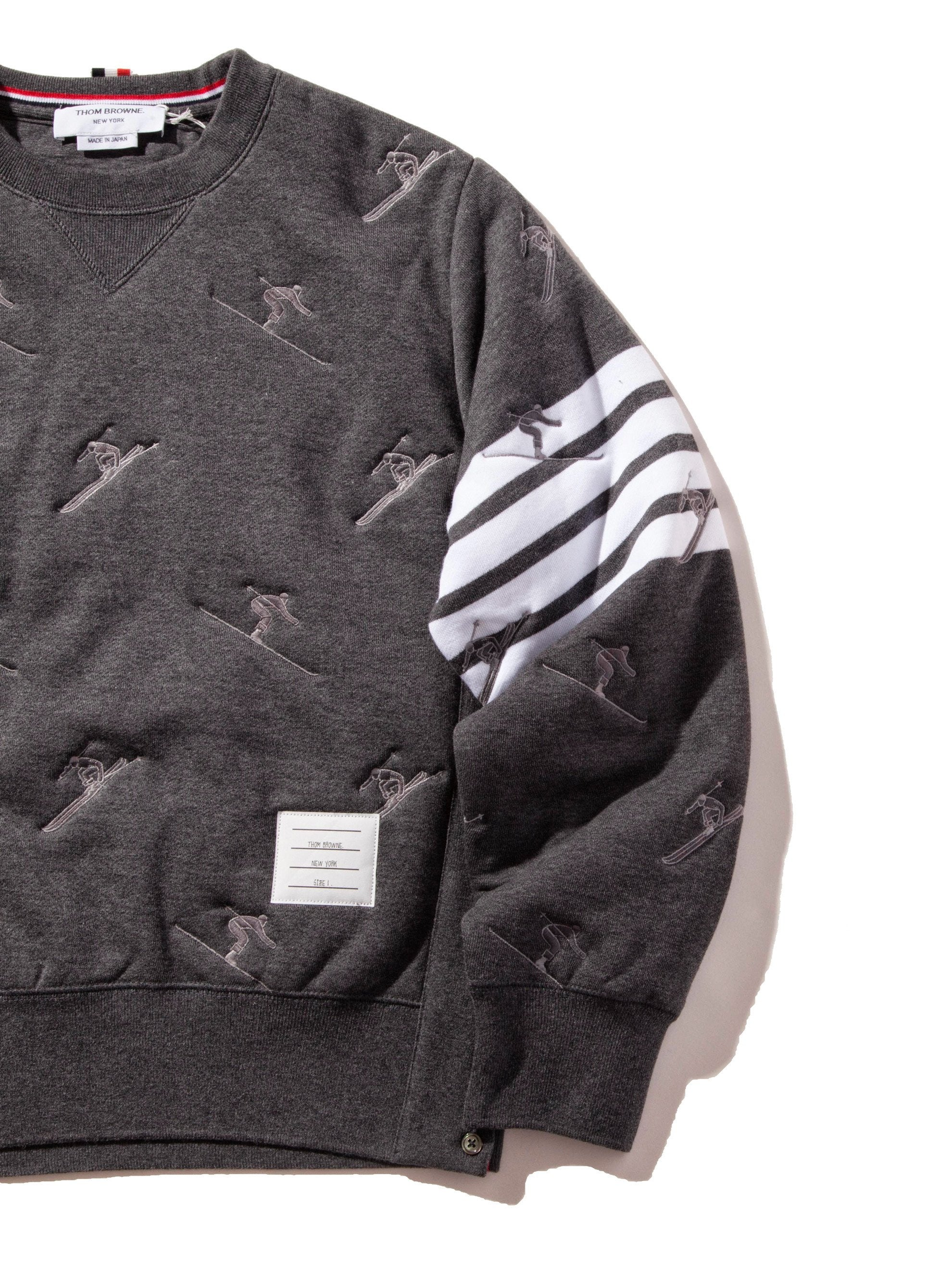 Dark Grey Classic Sweatshirt (Quilted Classic Loopback/Skier Icon Embroidery) 6