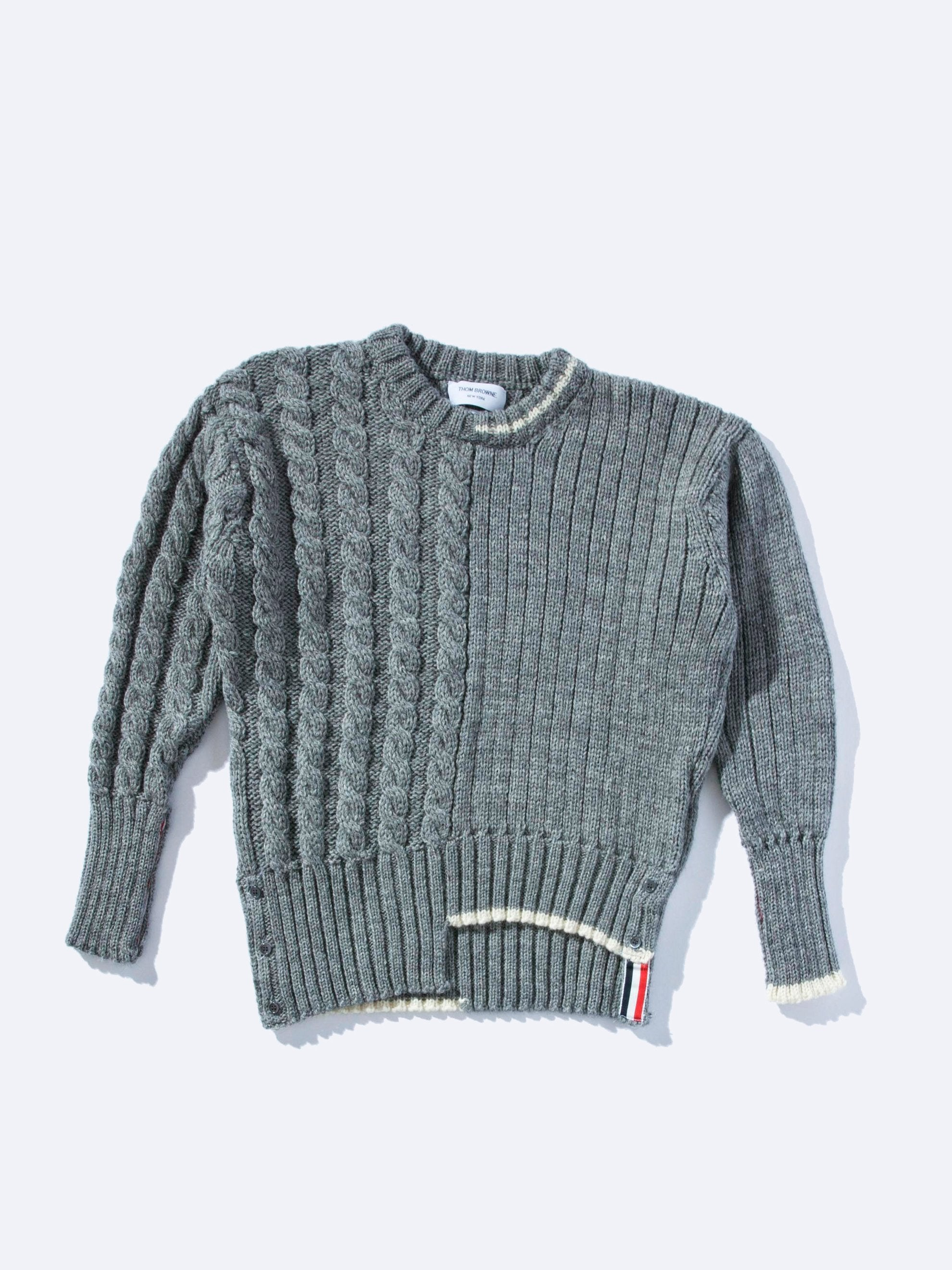 Light Grey Crewneck Pullover w/Aran Cable in British Wool 1