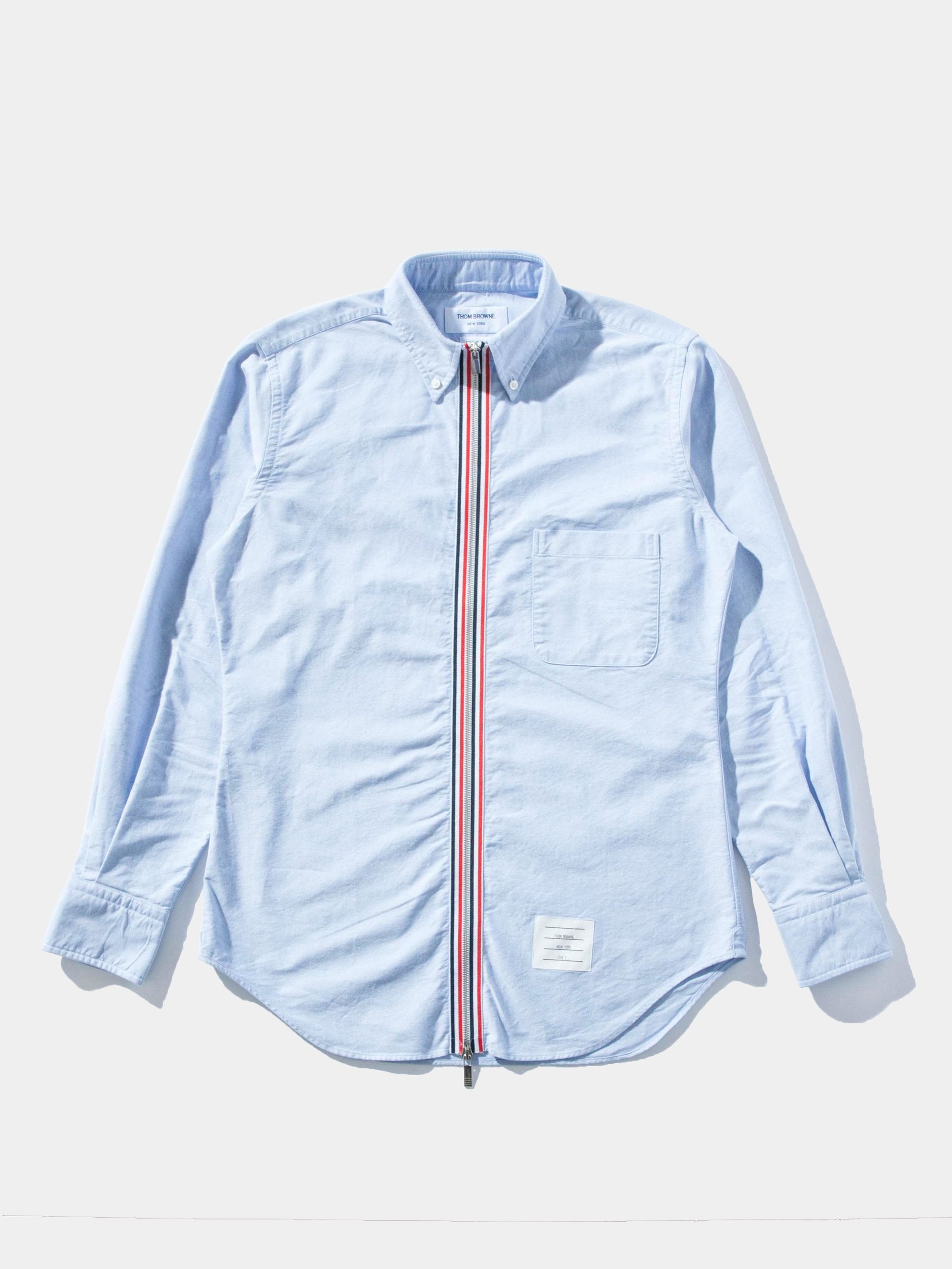 Light Blue Zip Front Long Sleeve Collar Shirt 1