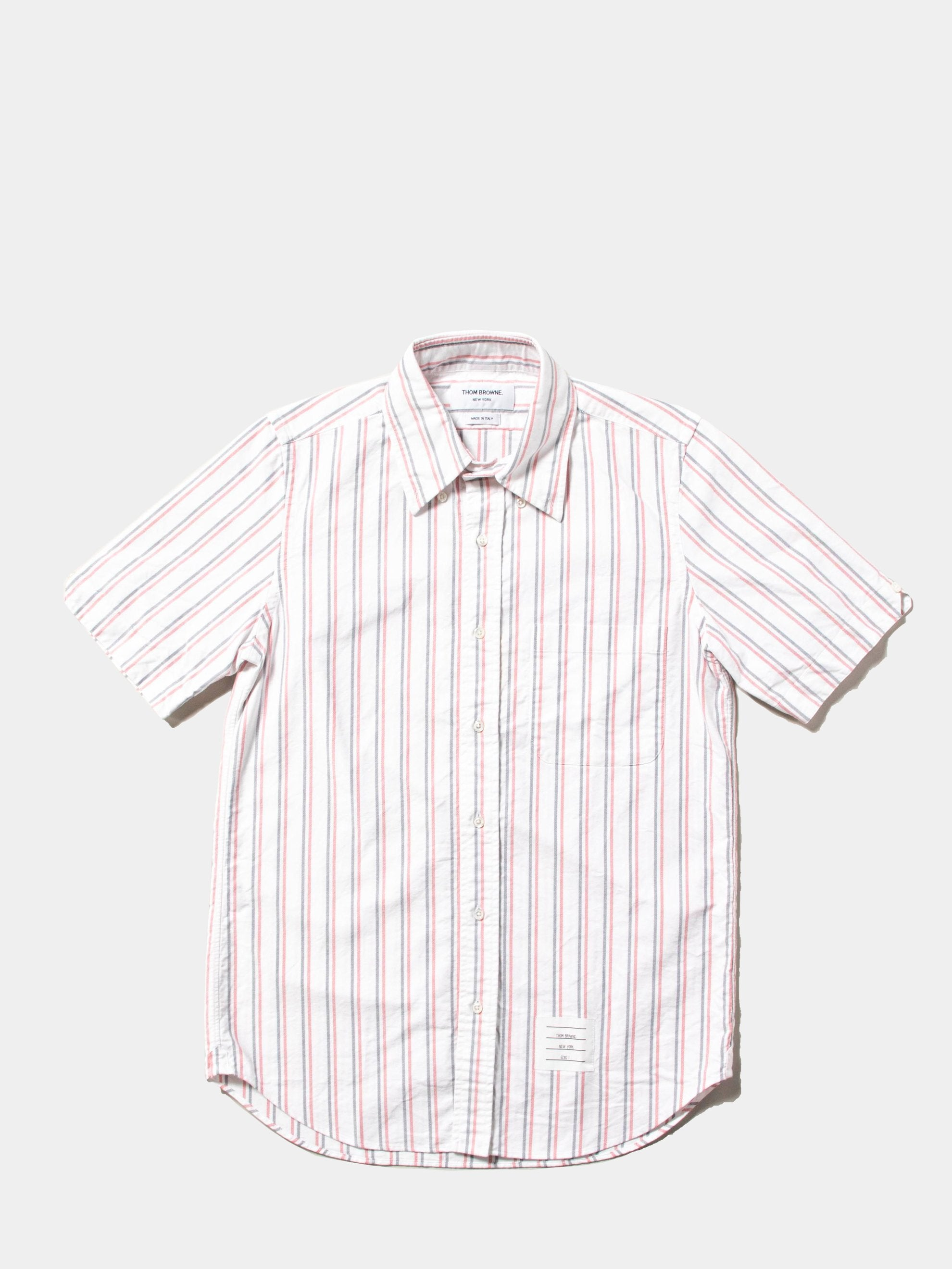 White Straight Fit BD SS Shirt W/ CB RWB GG In Tri Color Stripe Oxford 1