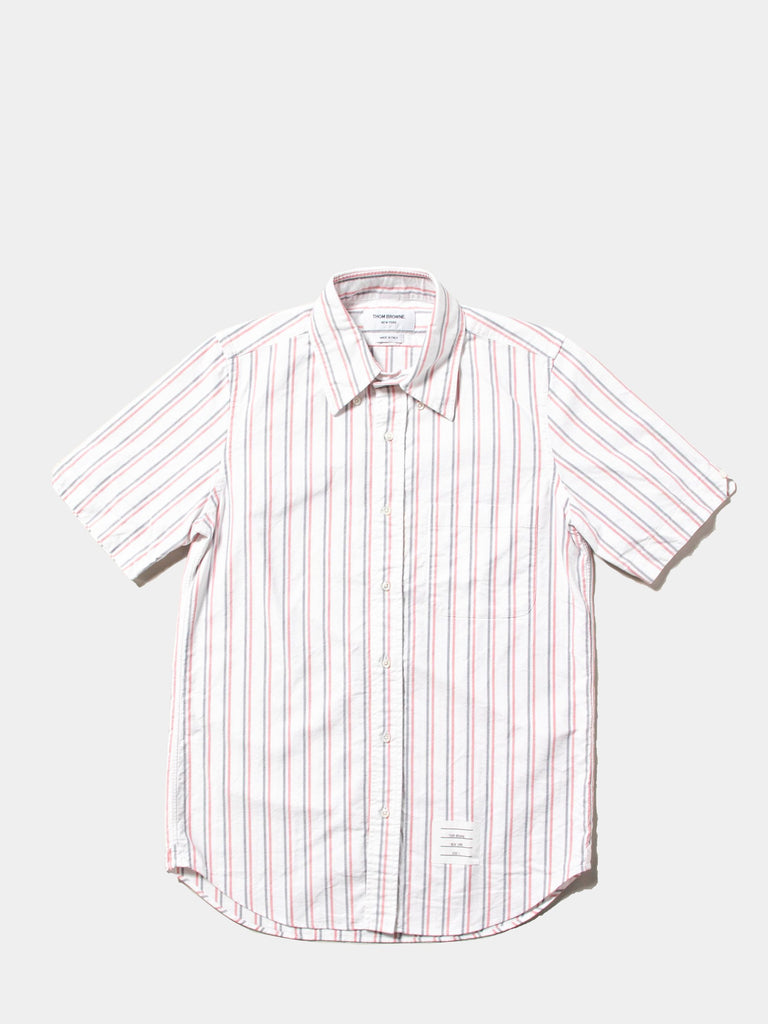 Straight Fit BD SS Shirt W/ CB RWB GG In Tri Color Stripe Oxford