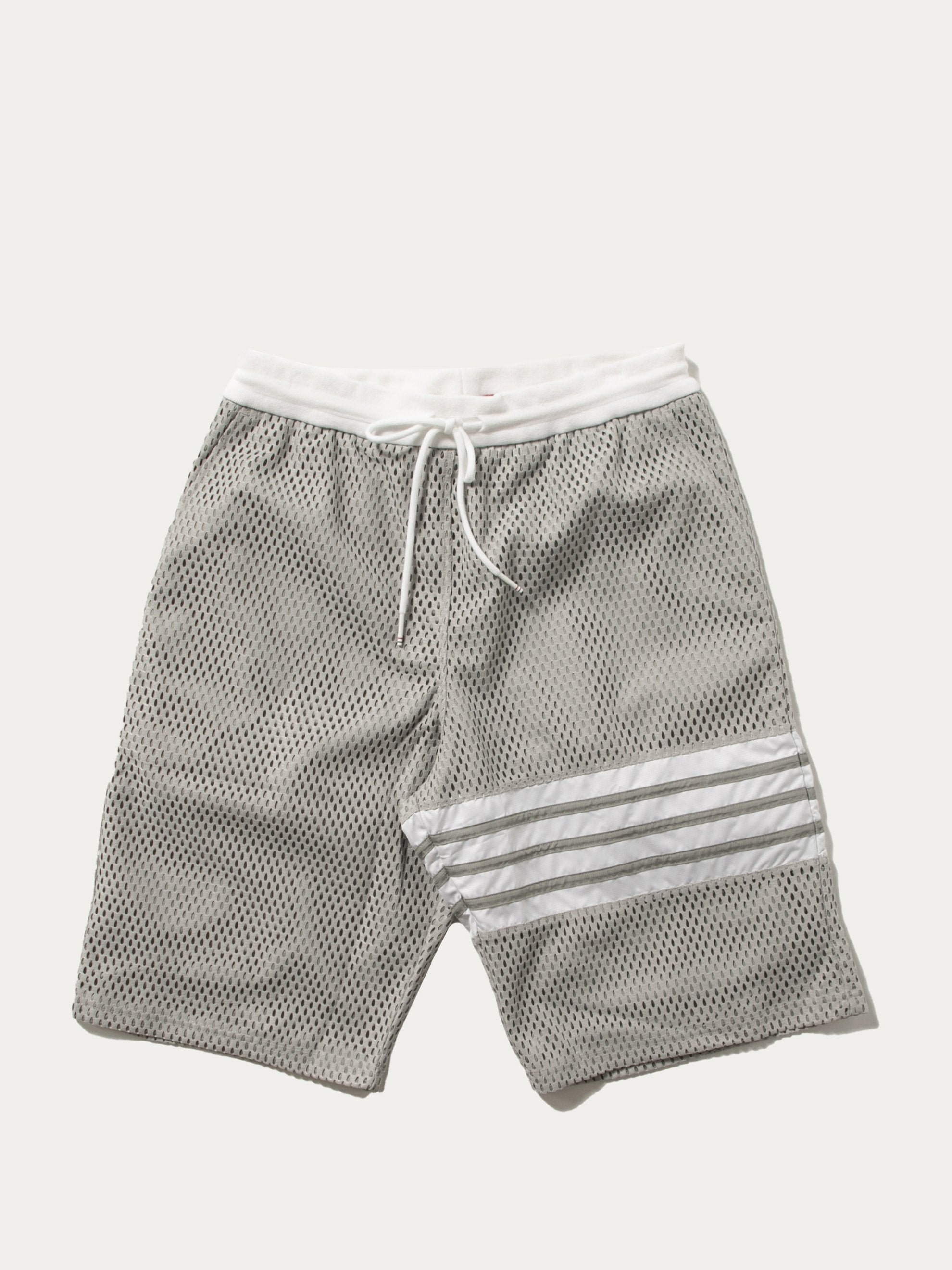 Light Grey Track Shorts In Heavy Athletic Mesh Jersey 1