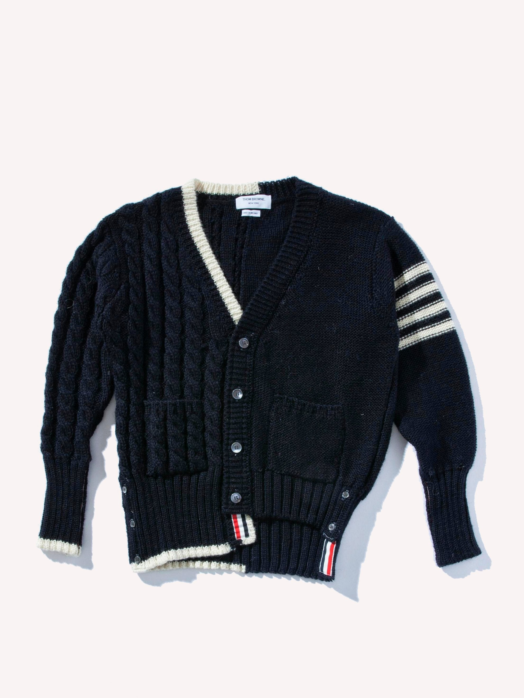 Navy V-Neck Cardigan W/ Aran Cable in British Wool 1