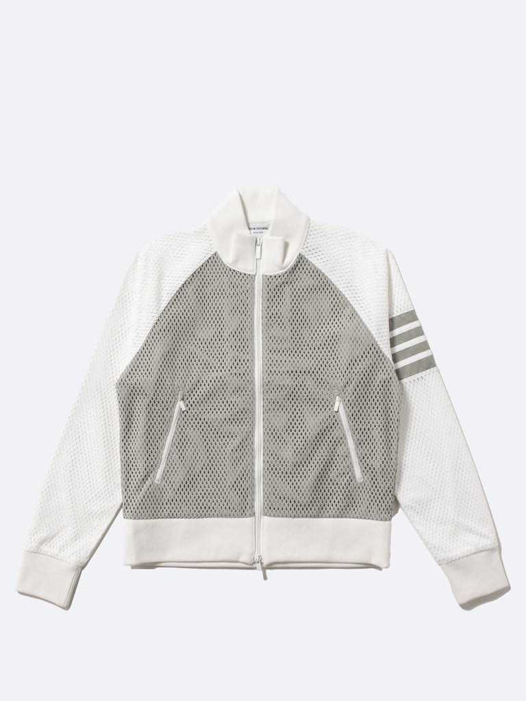 Rib Neck Zip Up Track Jacket In Heavy Athletic Mesh