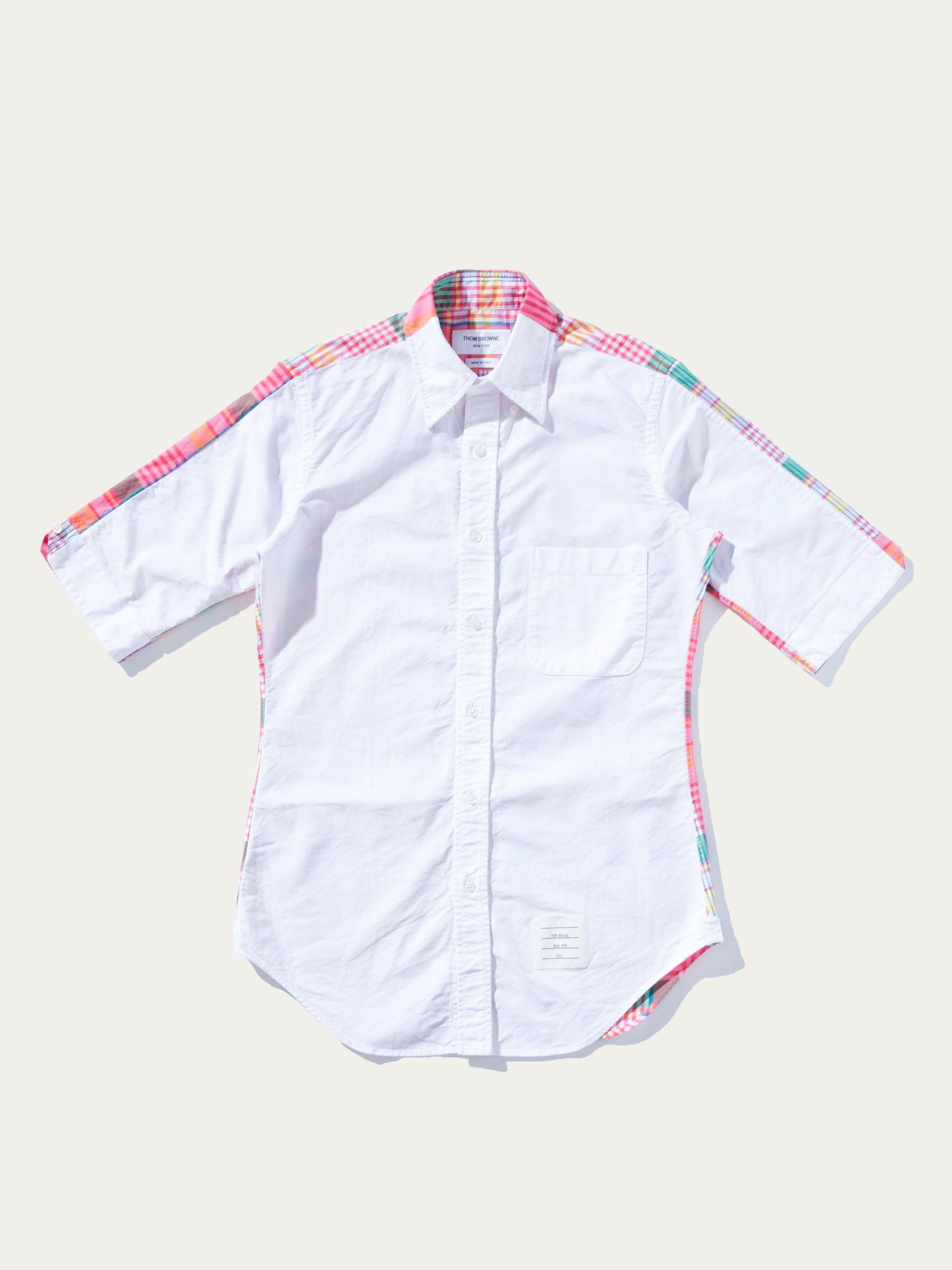 White/Pink Bicolor Classic Collar Button Down Shirt 1