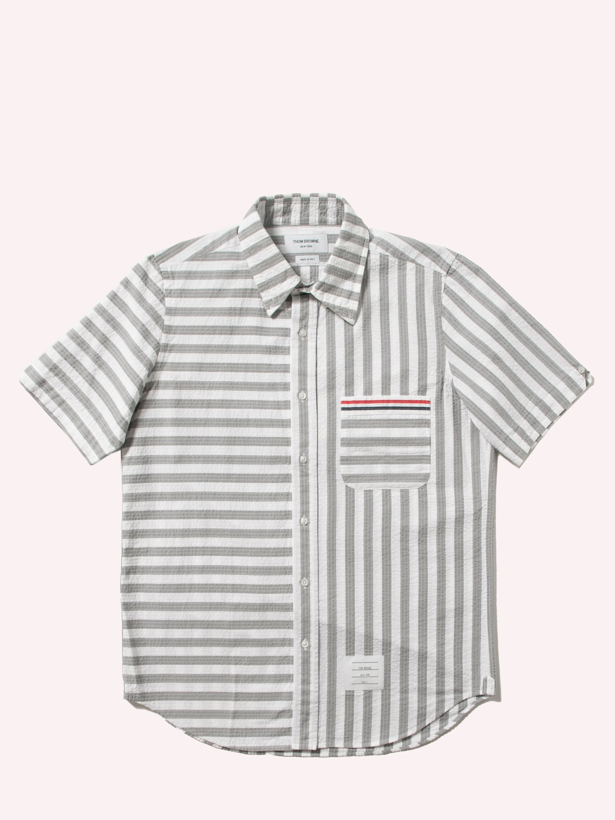 Med Grey Straight Fit Button Down Short Sleeve Shirt In Engineered RWB Wide Universty Stripe Shirt Seersucker 1