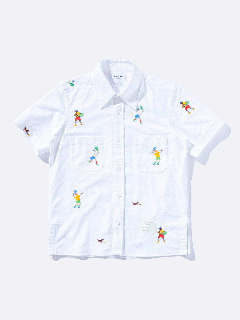 Cuban Shirt W/ Tennis Player Embroidery