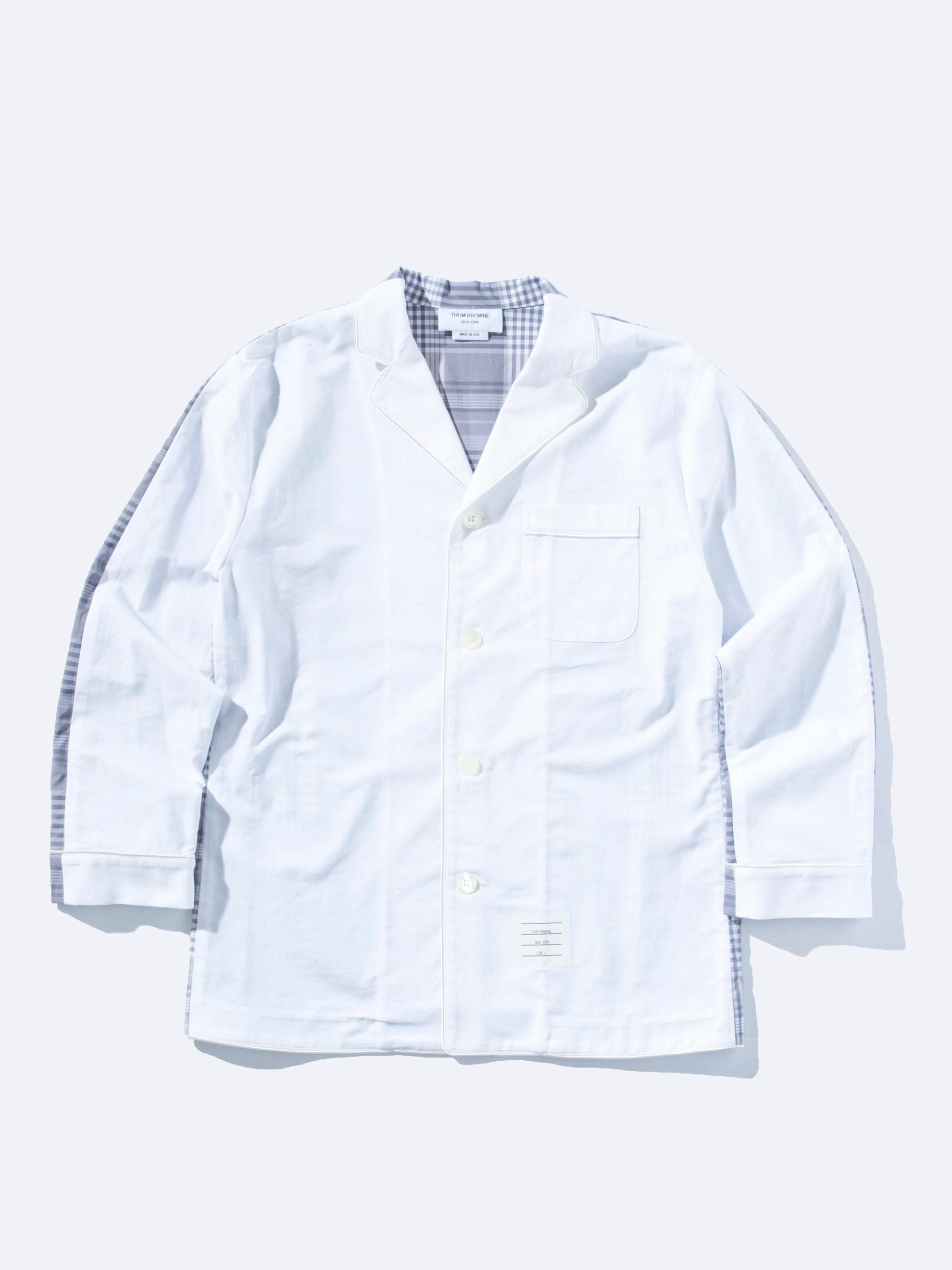 White Bicolor Pajama Shirt w/Piping in Oxford 1
