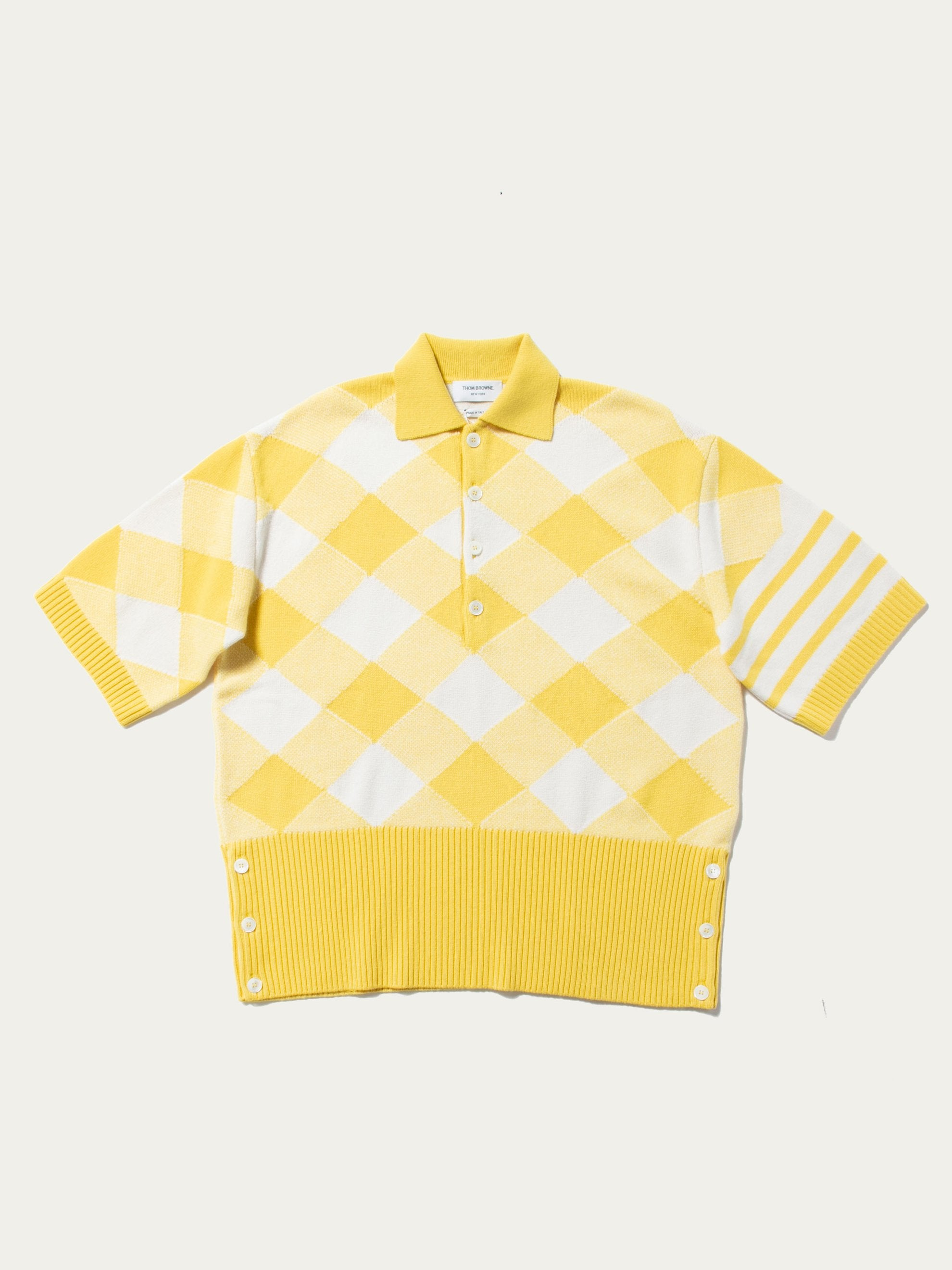 Yellow Oversized Bias Gingham Intarsia Jacquard Polo (Cashmere) 1