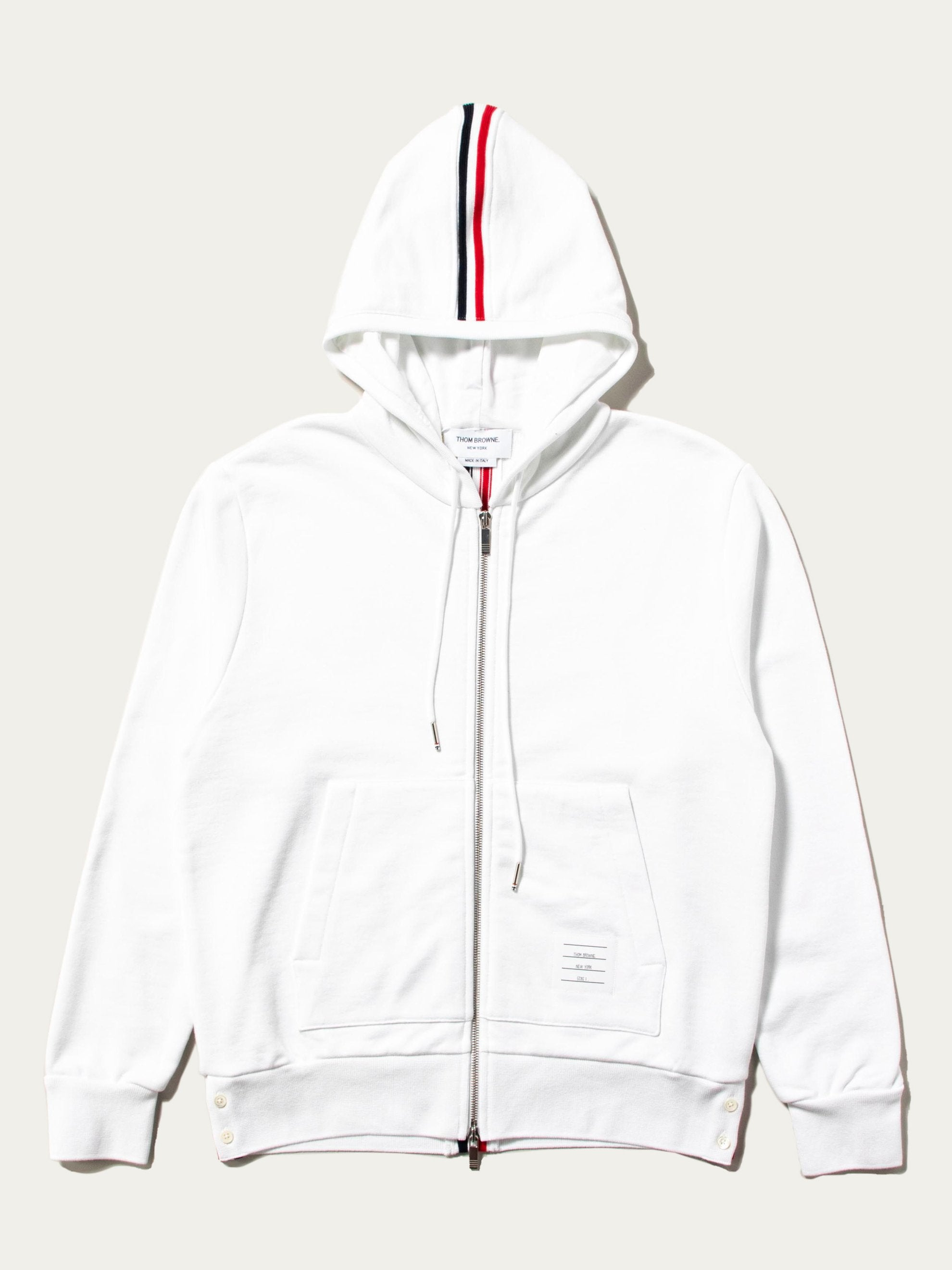 White Hoodie Zip-Up Pullover In Classic Loopback With CB RWB Stripe 1