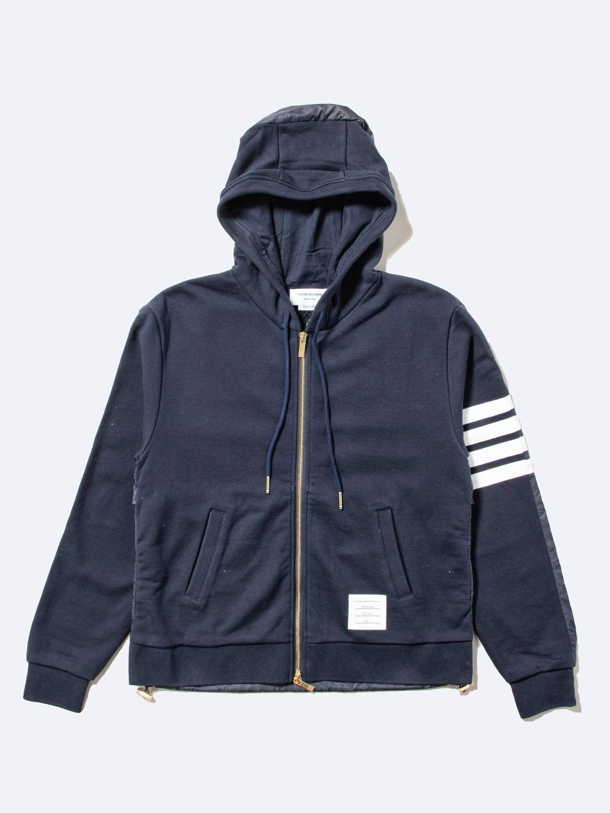 Navy Half And Half Zip Up Hoodie In Ripstop & Classic Loopback Jersey W/ 4 Bar Stripe 1