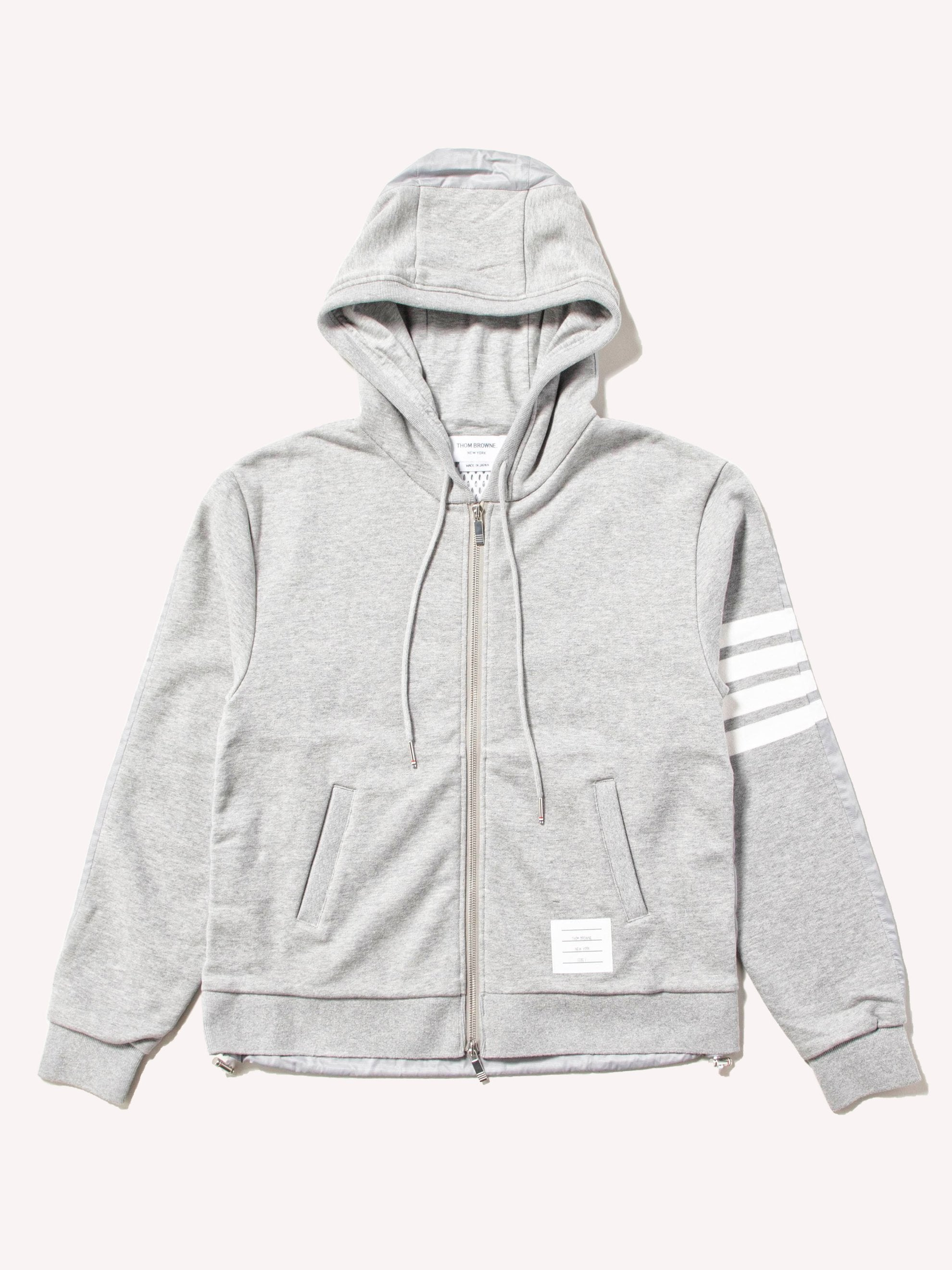 Light Grey Half And Half Zip Up Hoodie In Ripstop & Classic Loopback Jersey W/ 4 Bar Stripe 1