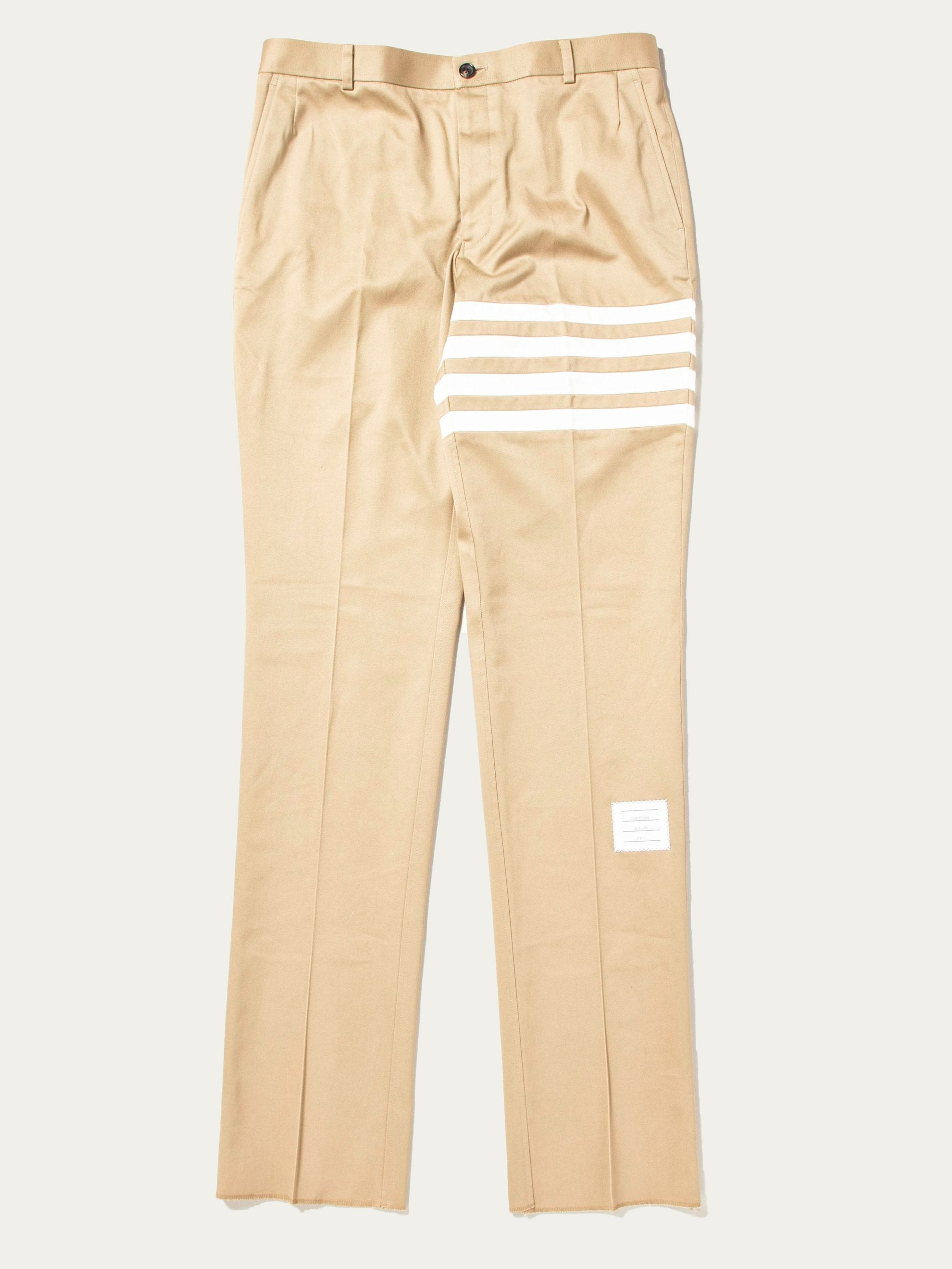 Camel Unconstructed Chino Trouser W/ Seamed In 4 Bar Stripe In Cotton Twill 1