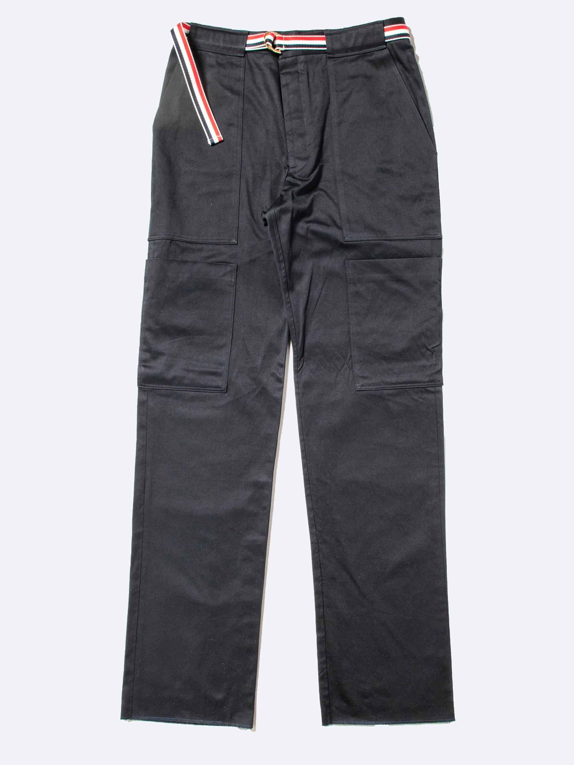 Navy Cargo GG Belt Trouser In Cotton Twill 1