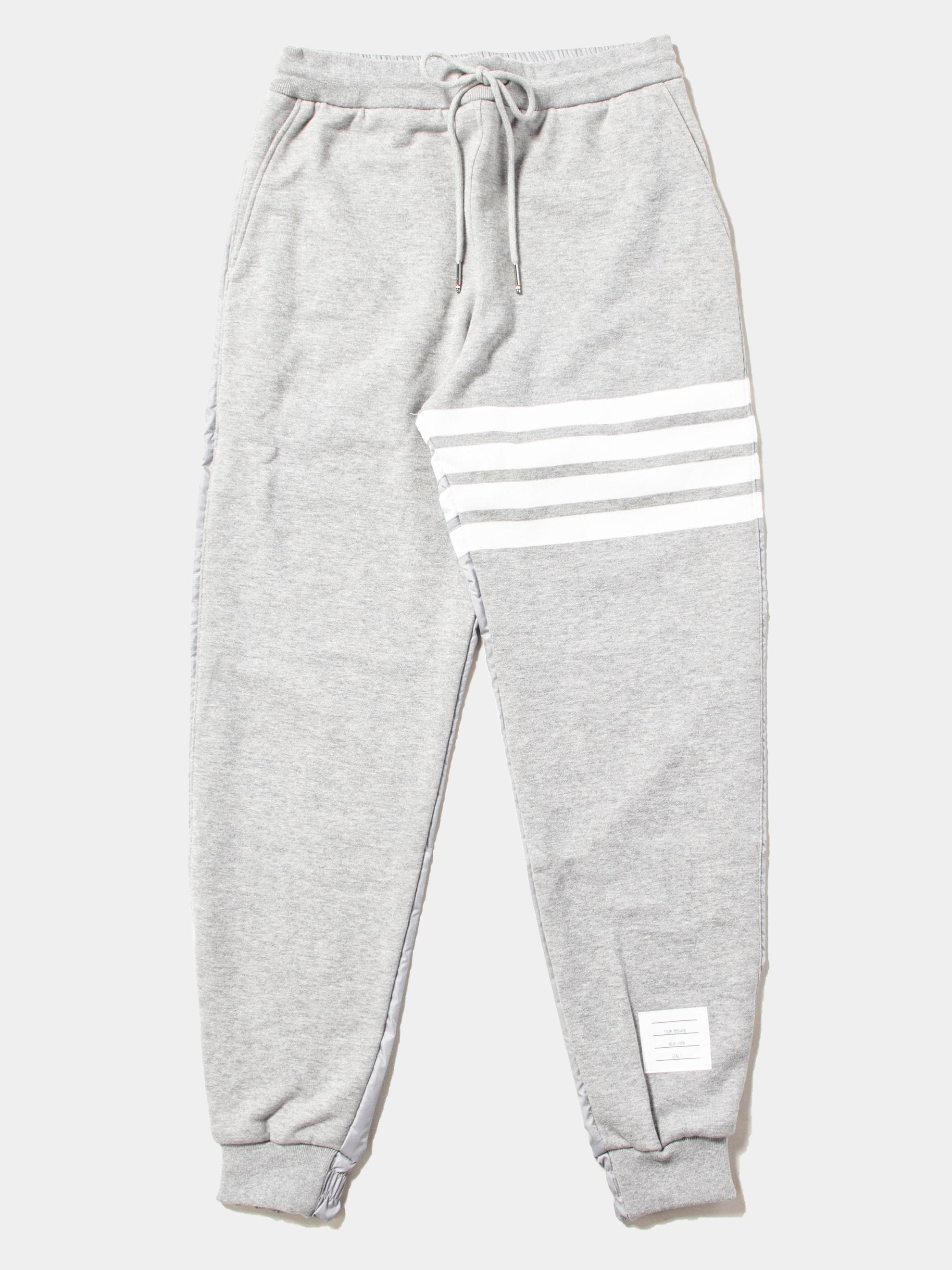 Light Grey Half And Half Sweatpants In Ripstop & Classic Loopback Jersey With 4 Bar Stripe 1