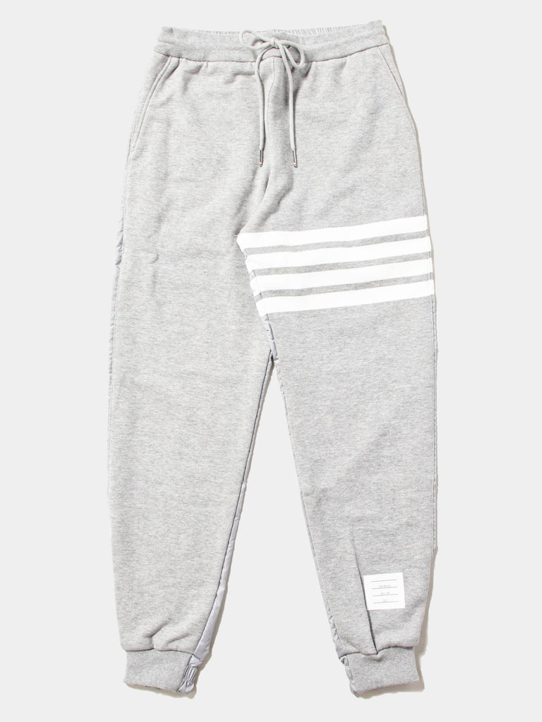 Half And Half Sweatpants In Ripstop & Classic Loopback Jersey With 4 Bar Stripe