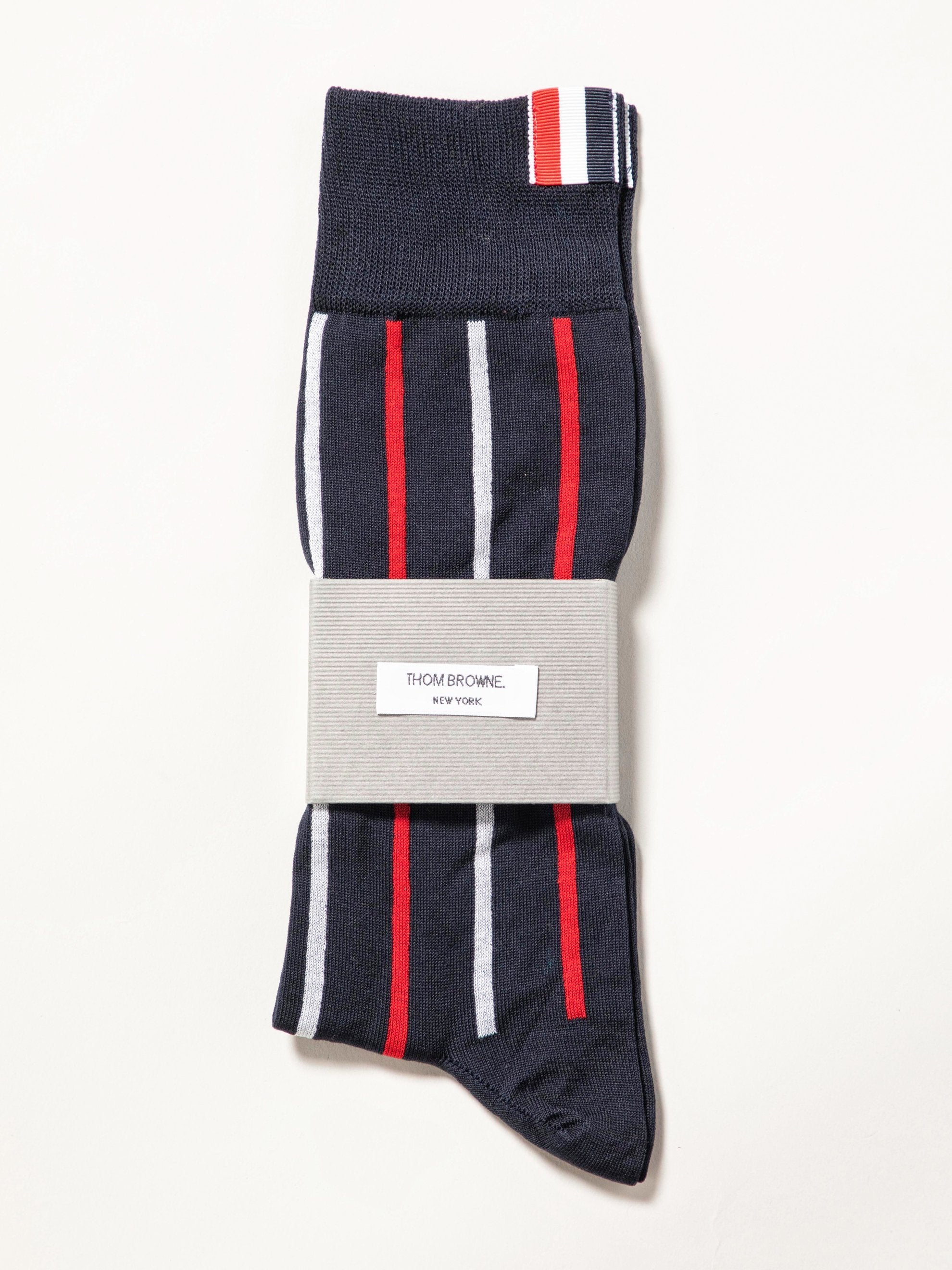 Banker Stripe Intarsia Mid Calf Socks In Cotton