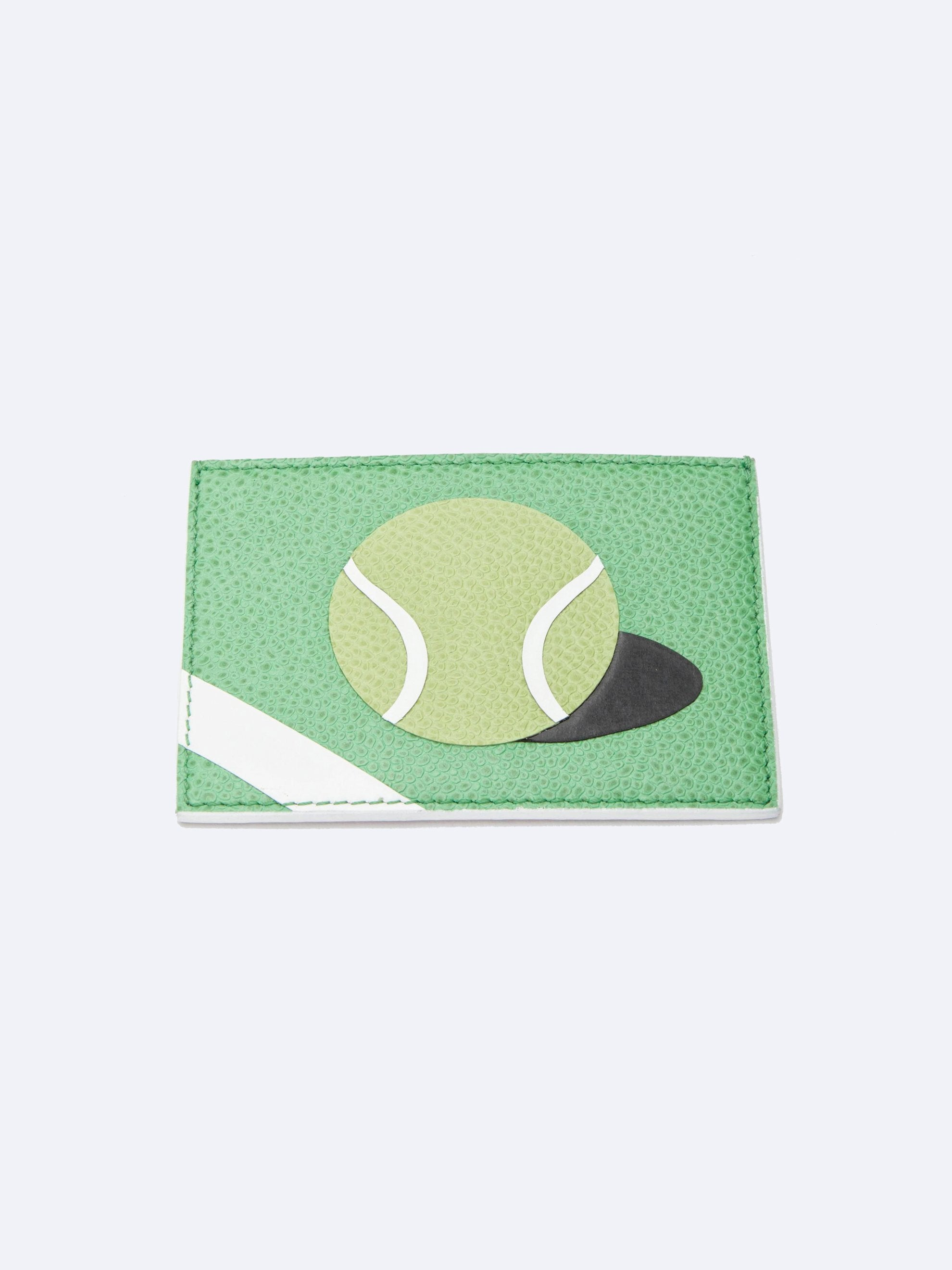 Med. Green Single Card Holder (Tennis Ball/Pebble Grain + Calf Leather) 1