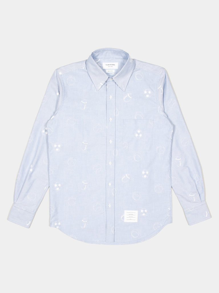 Straight Fit Button Down L/S Shirt In Multi Ball Shirting Embroidery