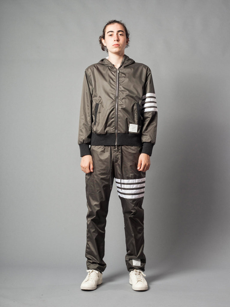 Zip Up Pants (Seamed In 4 Bar Stripe In Rip Stop W/ Cotton Eyelet Mesh)