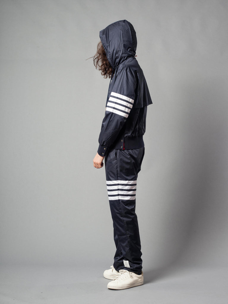 Navy Back Vent RipStop Zip Up Hoodie (Seamed In 4 Bar Stripe In Ripstop W/ Cotton Eyelet Mesh) 521621436617