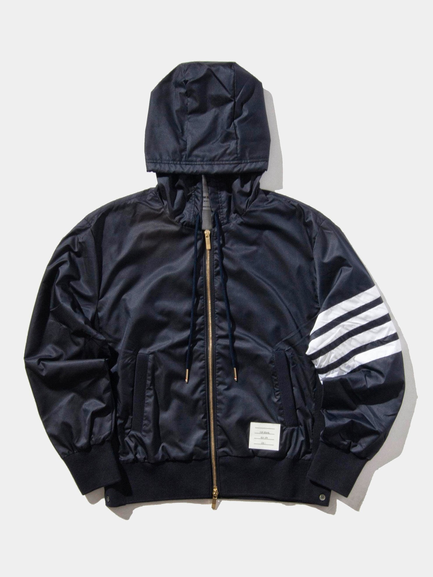 Navy Back Vent RipStop Zip Up Hoodie (Seamed In 4 Bar Stripe In Ripstop W/ Cotton Eyelet Mesh) 1