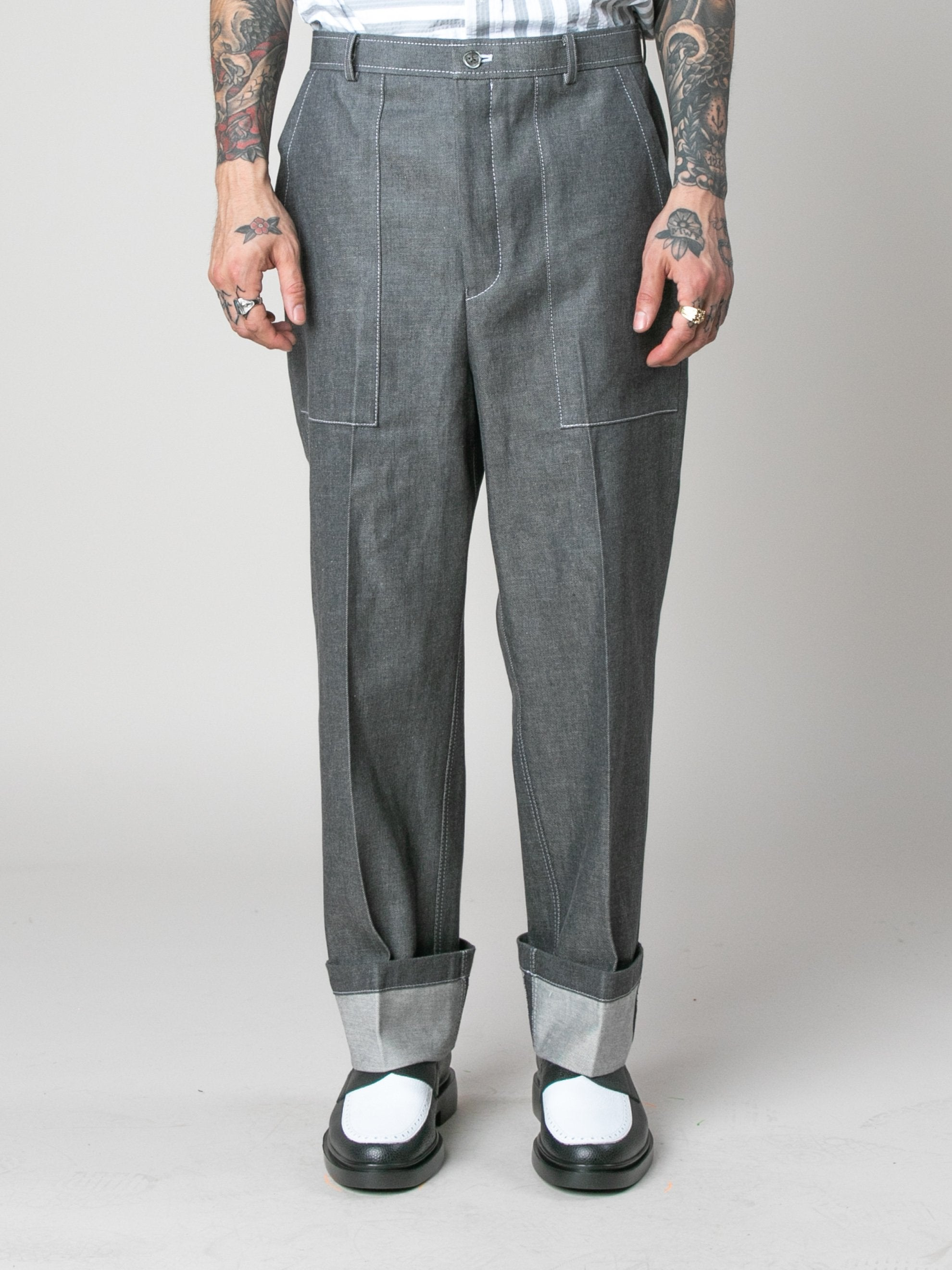 Med Grey Square Patch Pocket Fold Up Straight Leg Trouser In Denim 3