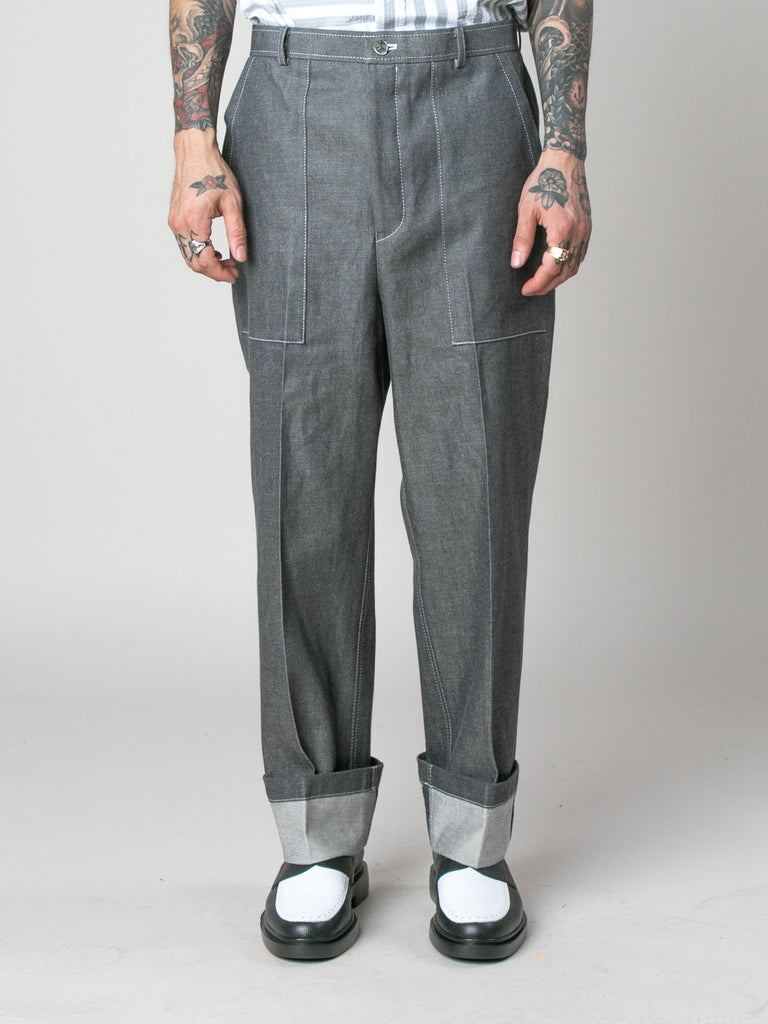 Med Grey Square Patch Pocket Fold Up Straight Leg Trouser In Denim 314058895573069