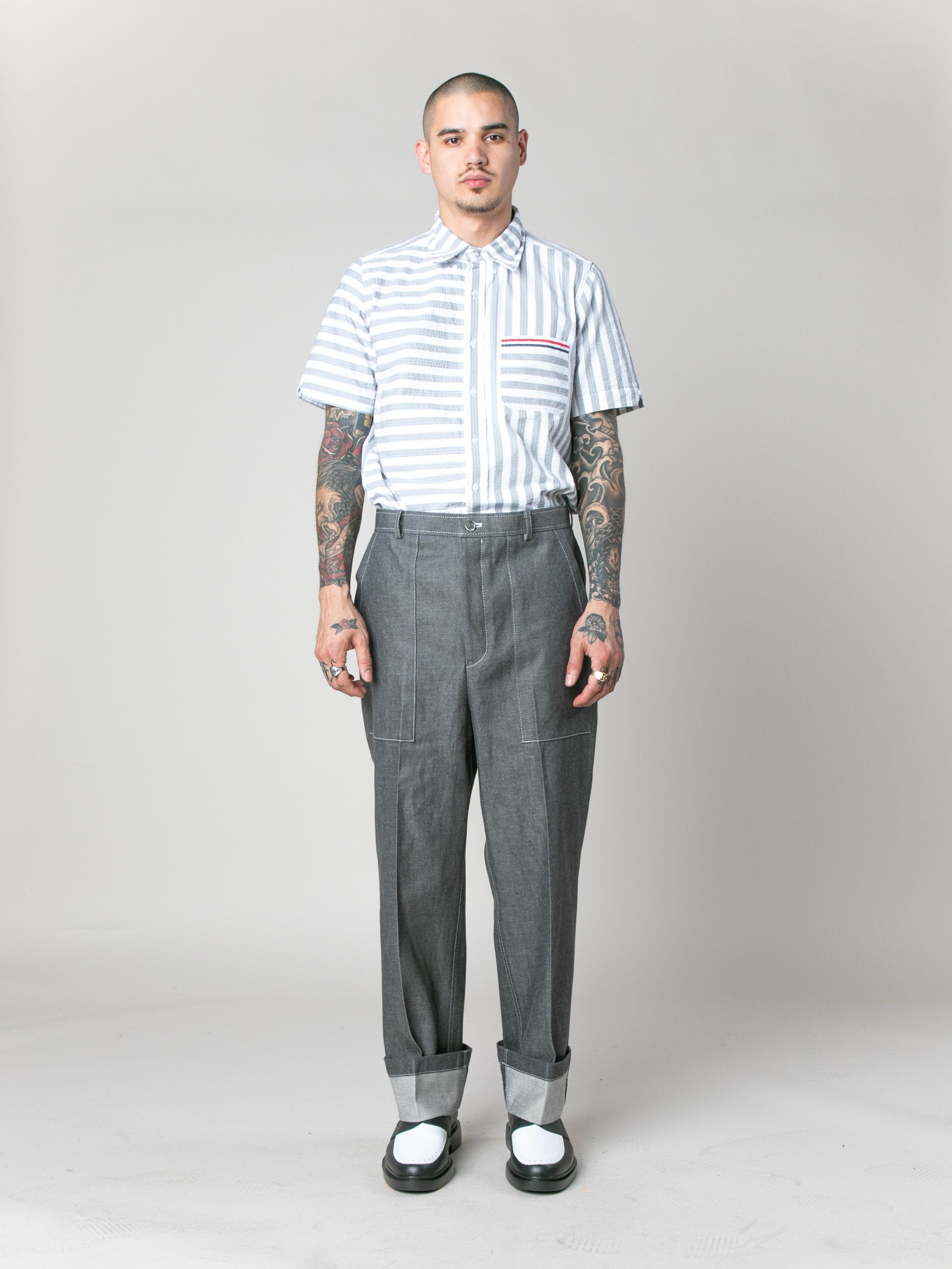 Med Grey Square Patch Pocket Fold Up Straight Leg Trouser In Denim 2