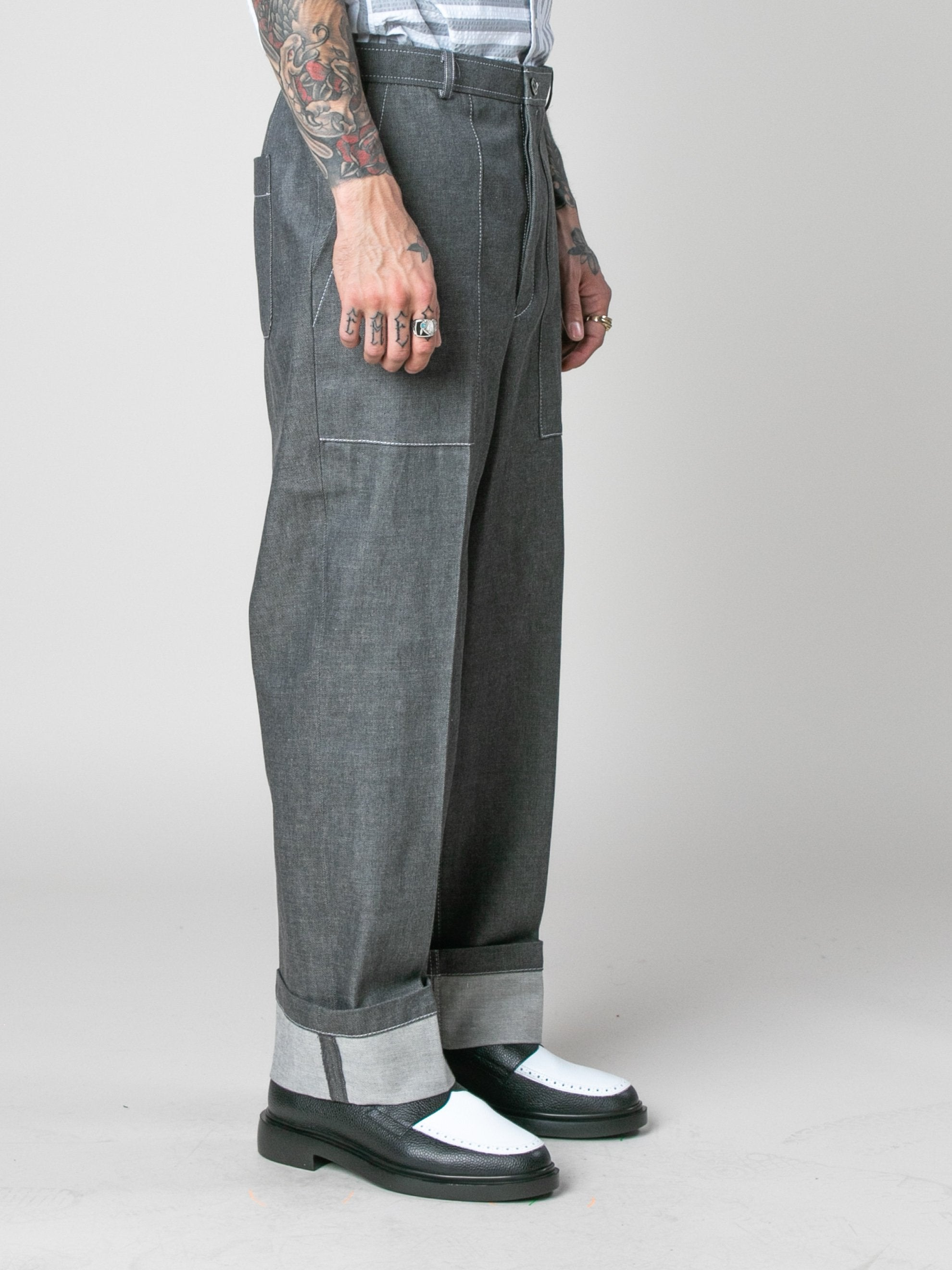 Med Grey Square Patch Pocket Fold Up Straight Leg Trouser In Denim 4