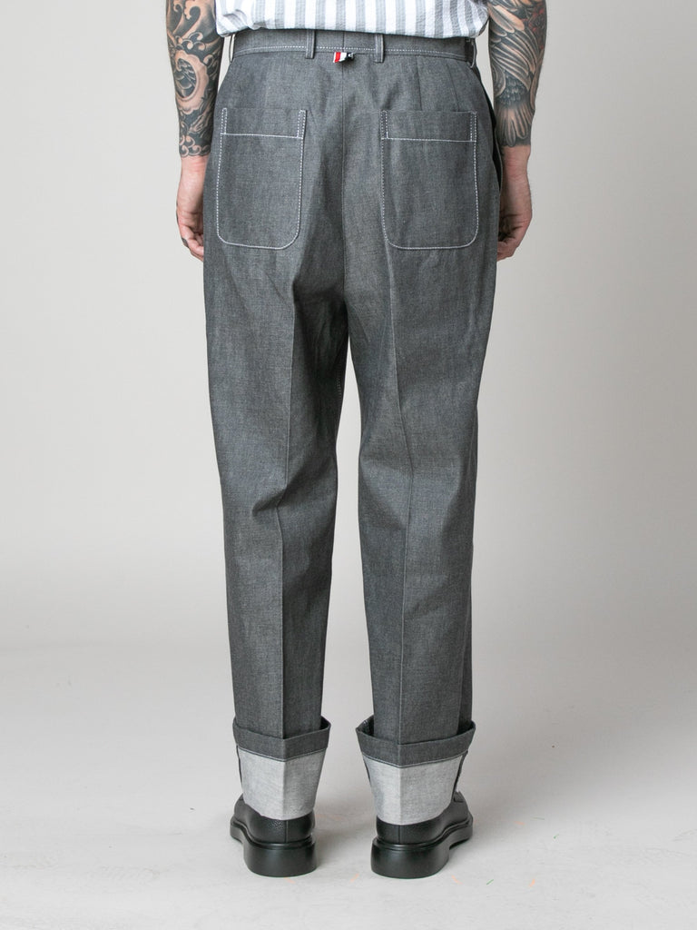 Med Grey Square Patch Pocket Fold Up Straight Leg Trouser In Denim 614058895704141