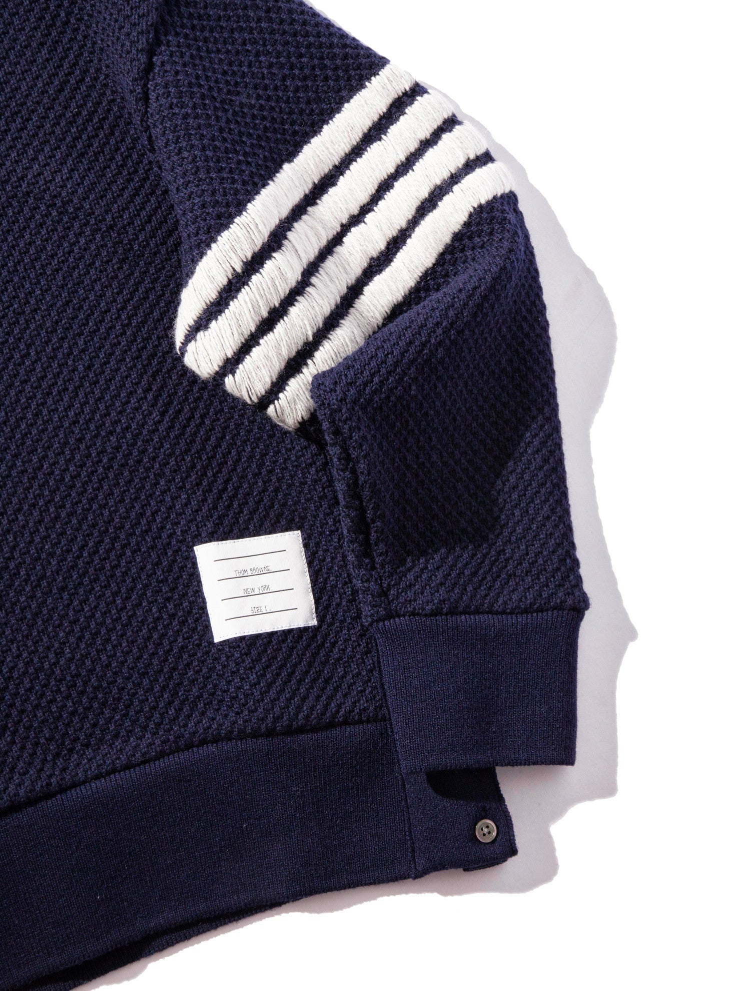 Navy Wide Shoulder Crew Neck Sweatshirt (Hand Embroidered 4 Bar Stripe In Chunky Pique) 11