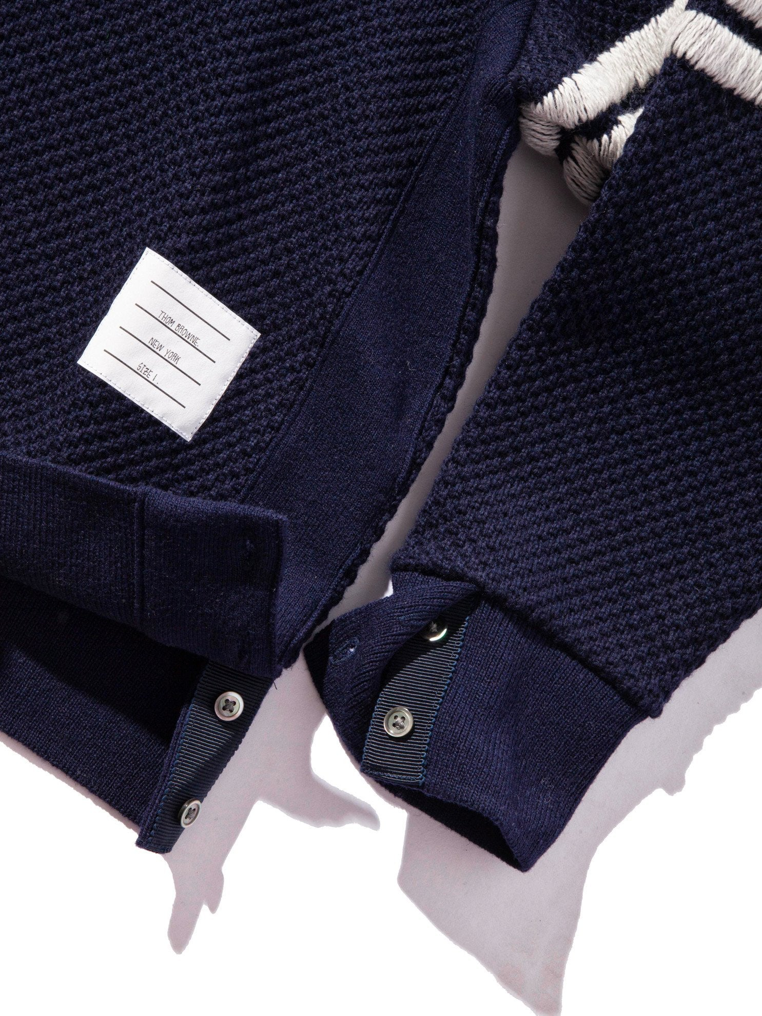 Navy Wide Shoulder Crew Neck Sweatshirt (Hand Embroidered 4 Bar Stripe In Chunky Pique) 12