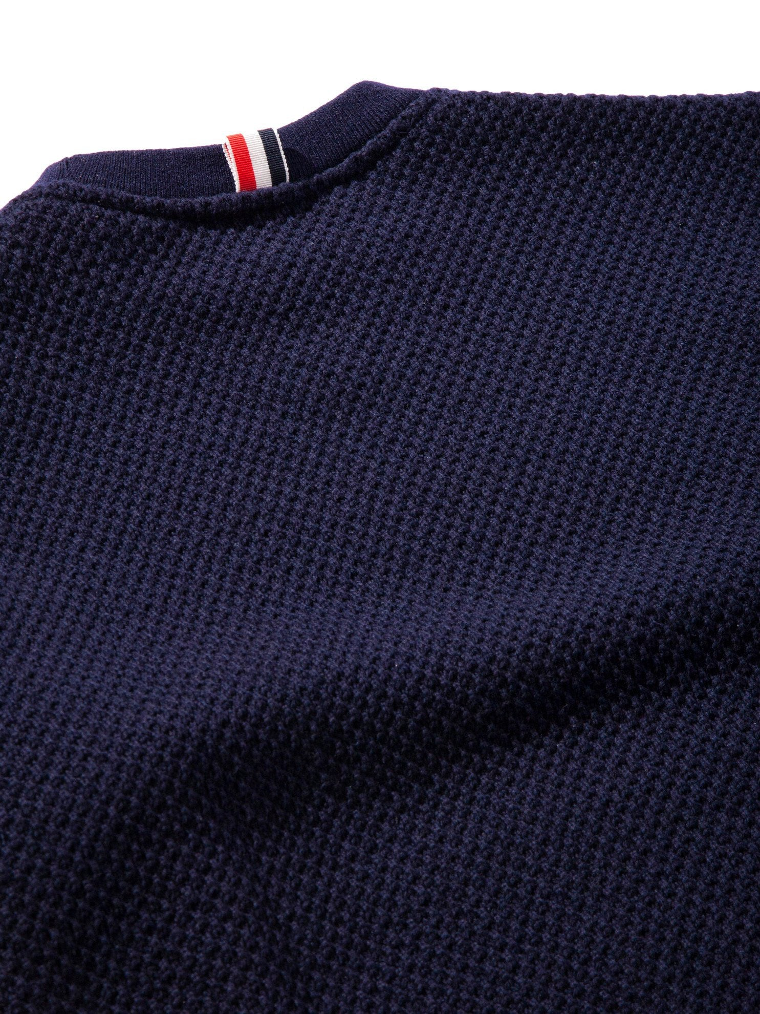 Navy Wide Shoulder Crew Neck Sweatshirt (Hand Embroidered 4 Bar Stripe In Chunky Pique) 10